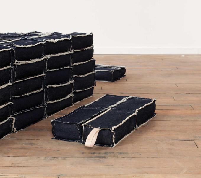 Support  (detail), 2014  denim, thread, salt, rice  Image courtesy of Volume Gallery, Chicago, IL