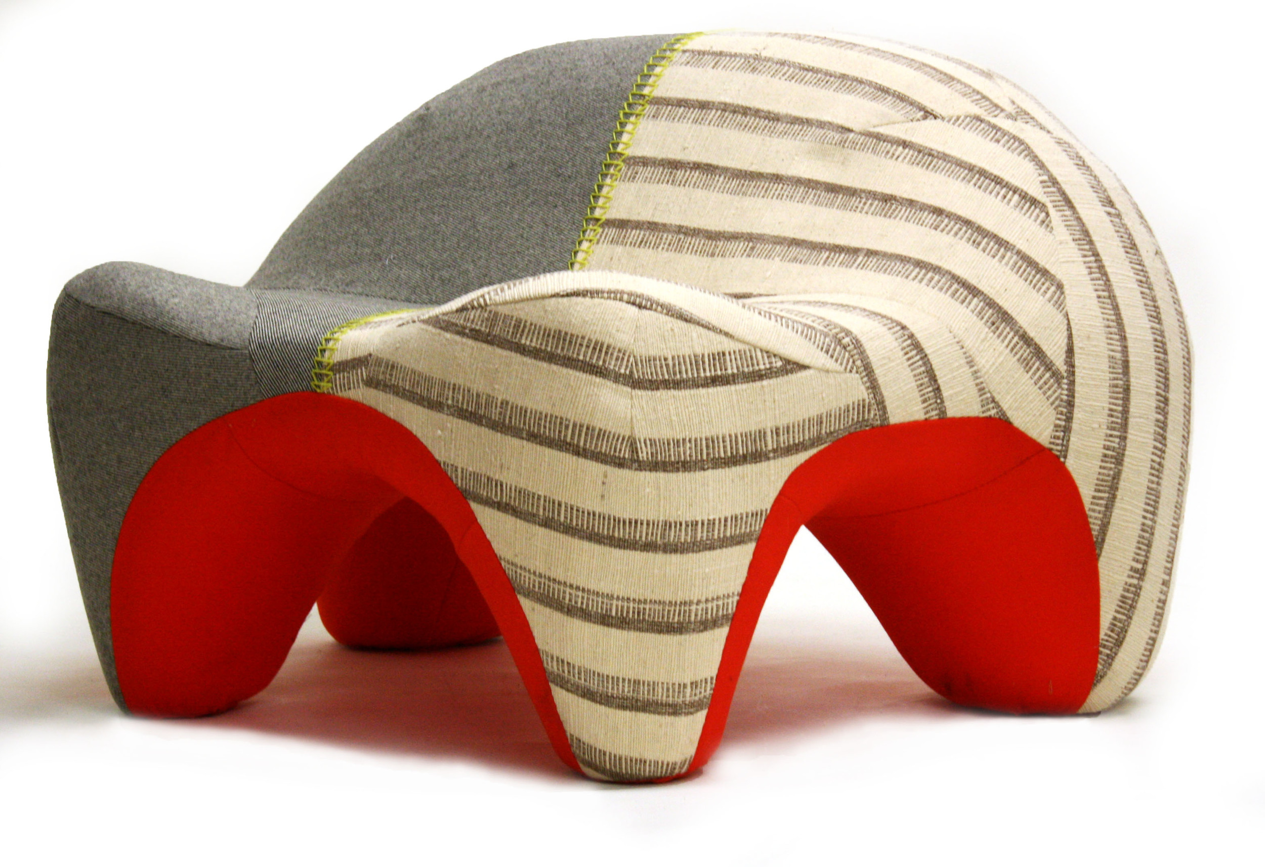 Humpback , 2012  Vintage linen and wool weave, woven Italian cashmere blend, industrial felt