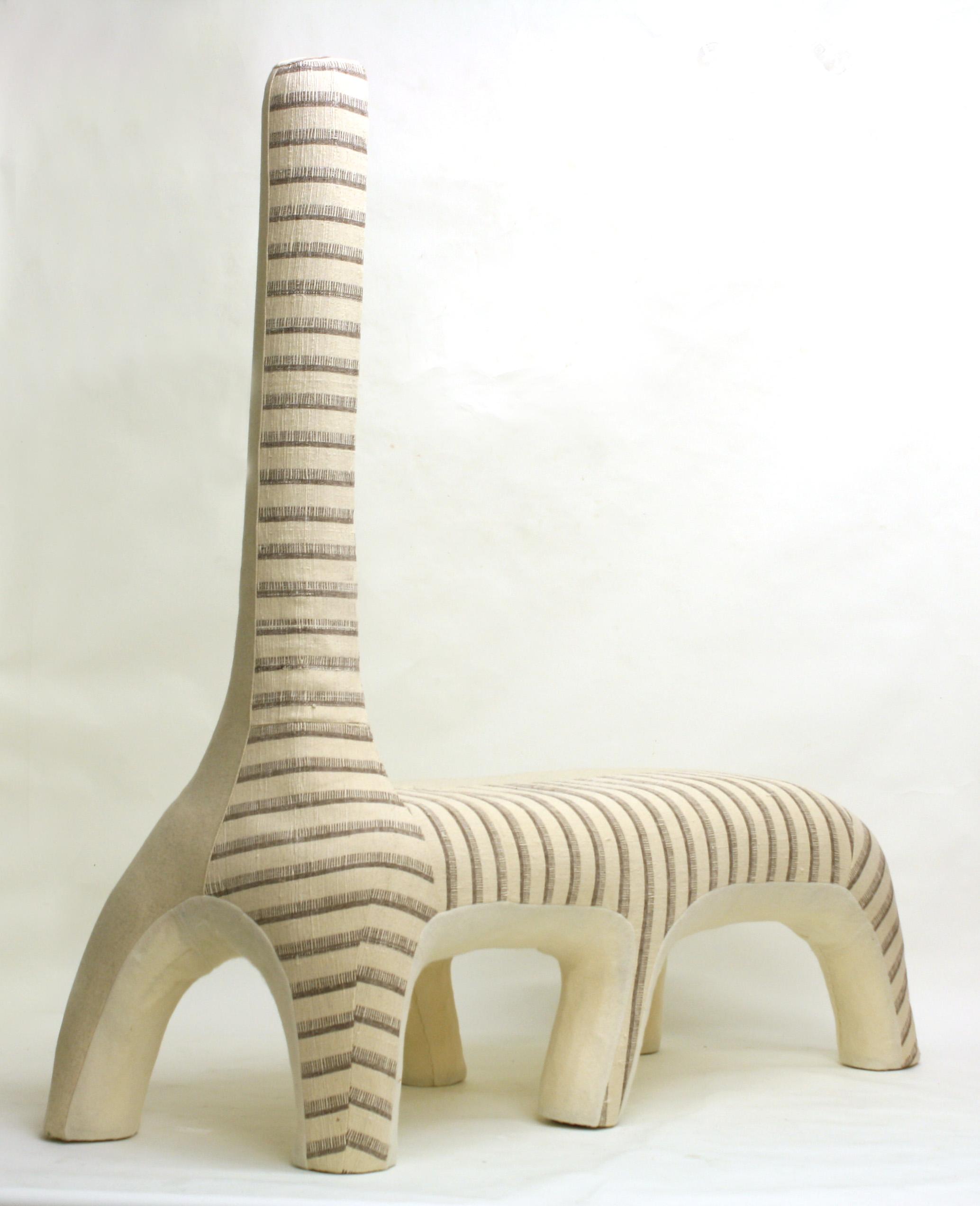 Giraffe , 2012  Vintage linen and wool weave, woven wool, industrial felt