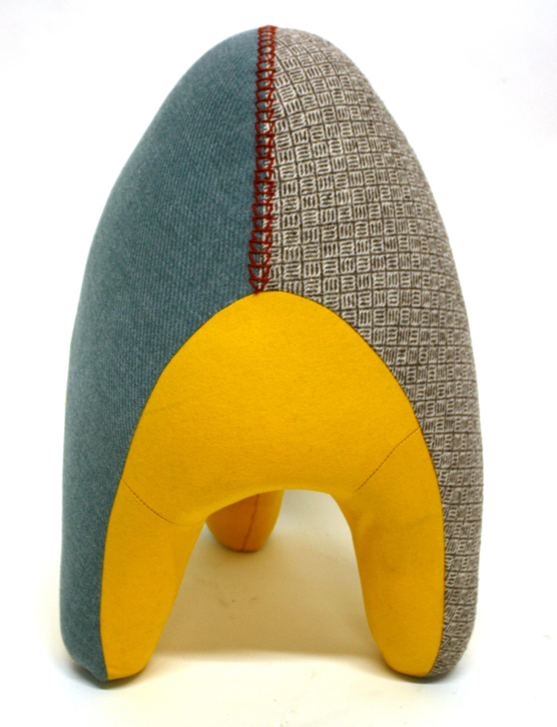 Eggbert , 2012  Vintage linen weave, woven wool, industrial felt