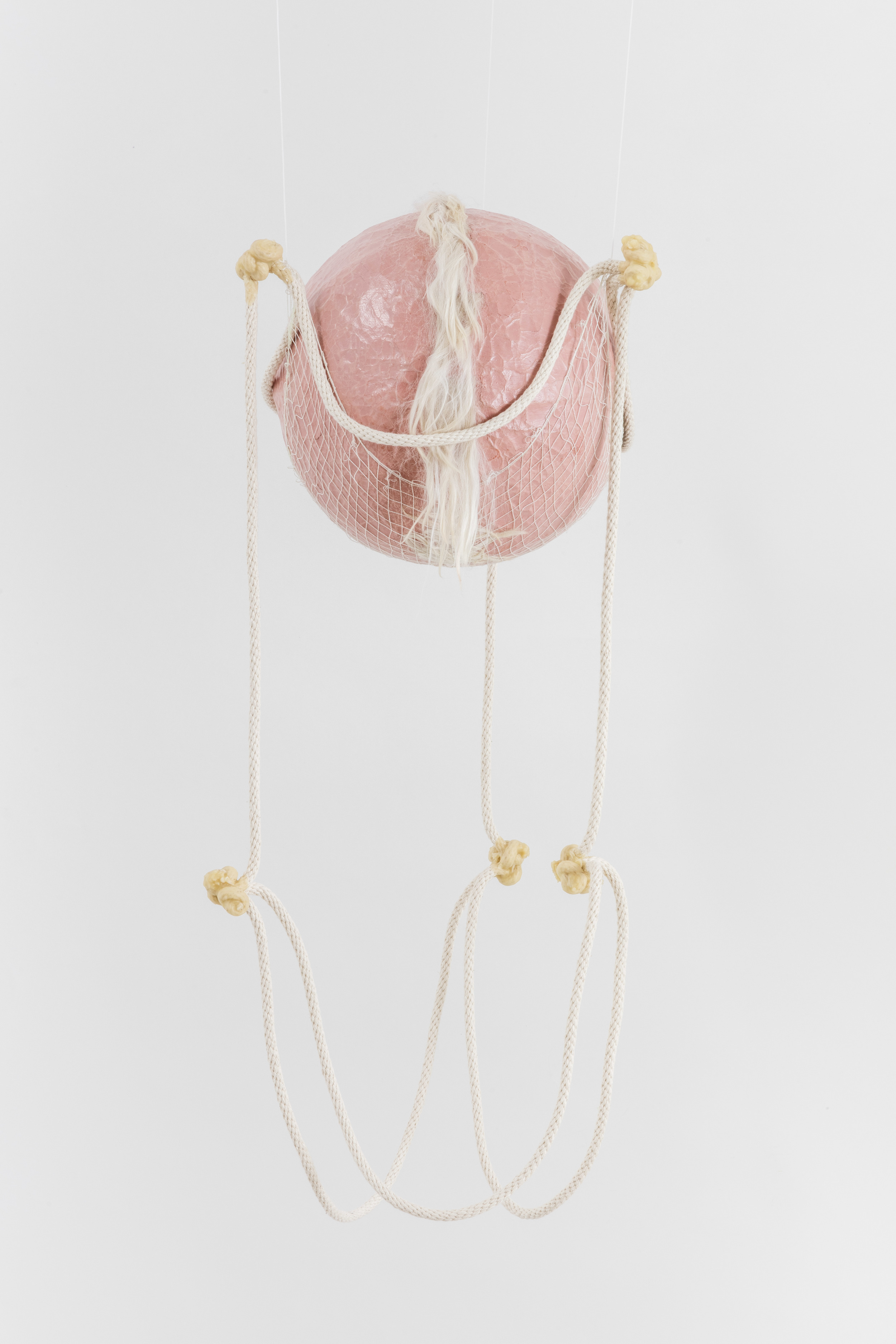 Tanya Aguiniga   Gynic Dispossession 1 , 2016  Cotton rope, cotton thread, canvas, self-drying clay,alpaca and beeswax  30 x 12 x 12 inches