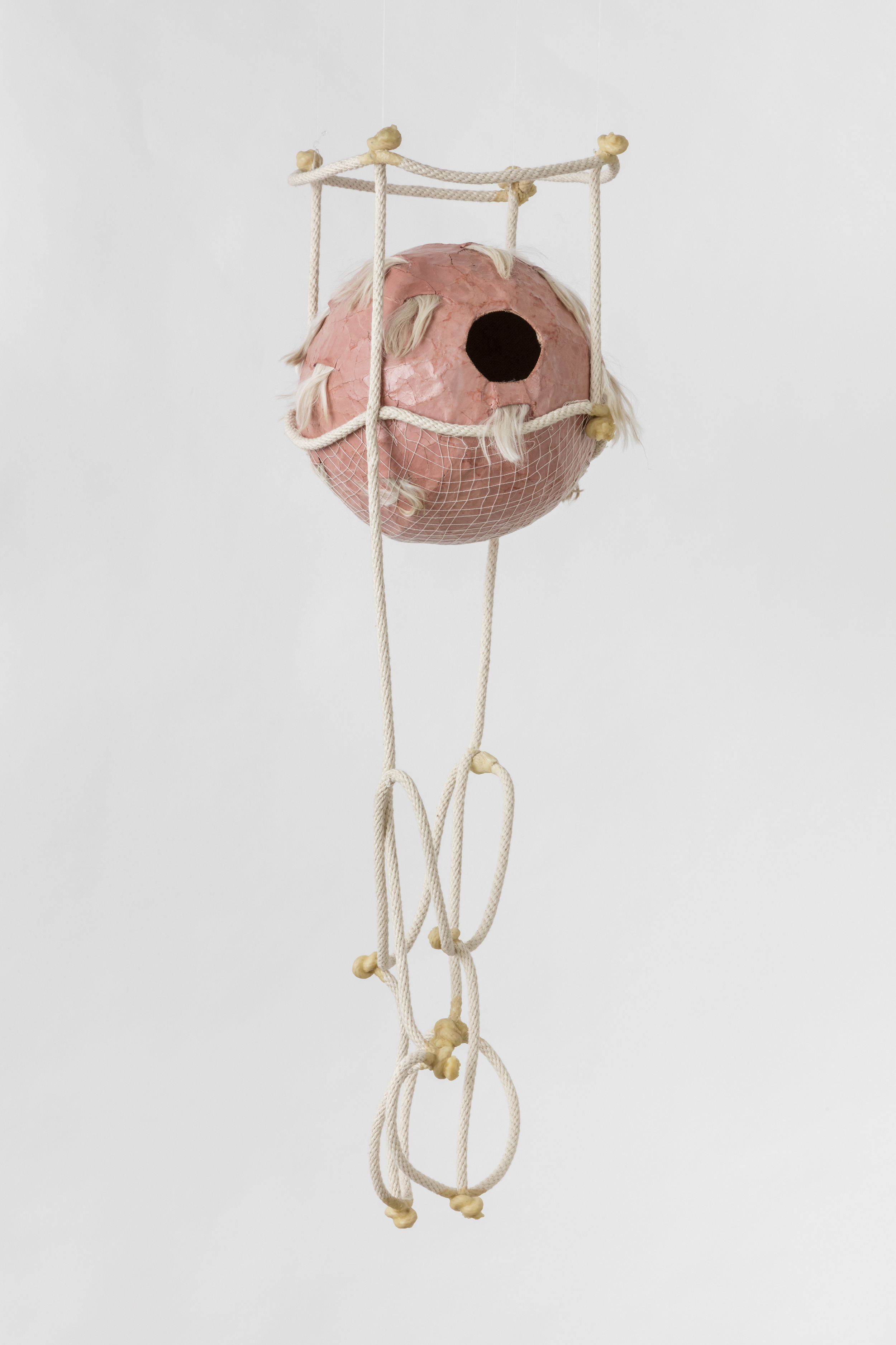 Tanya Aguiniga   Gynic Dispossession 2 , 2016  Cotton rope, cotton thread, canvas, self-drying clay,alpaca and beeswax  32 x 12 x 12 inches