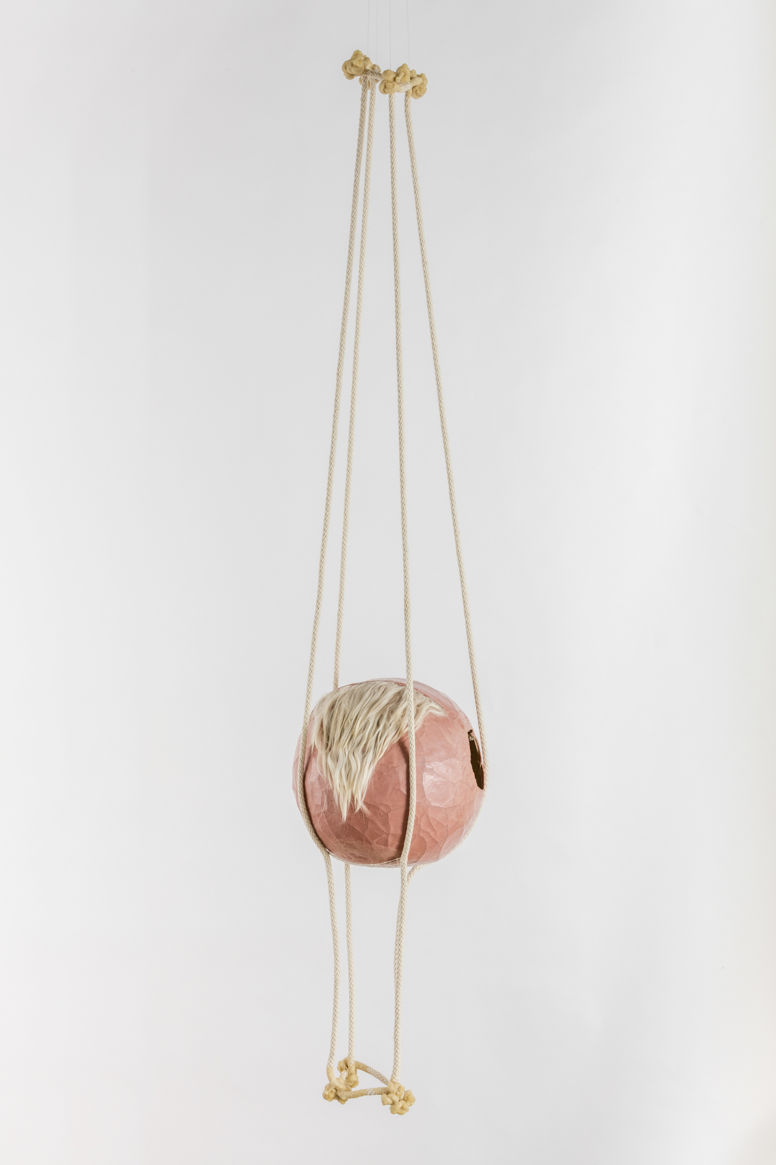 Tanya Aguiniga   Gynic Dispossession 3 , 2016  Cotton rope, cotton thread, canvas, self-drying clay,alpaca and beeswax  56 x 12 x 12 inches