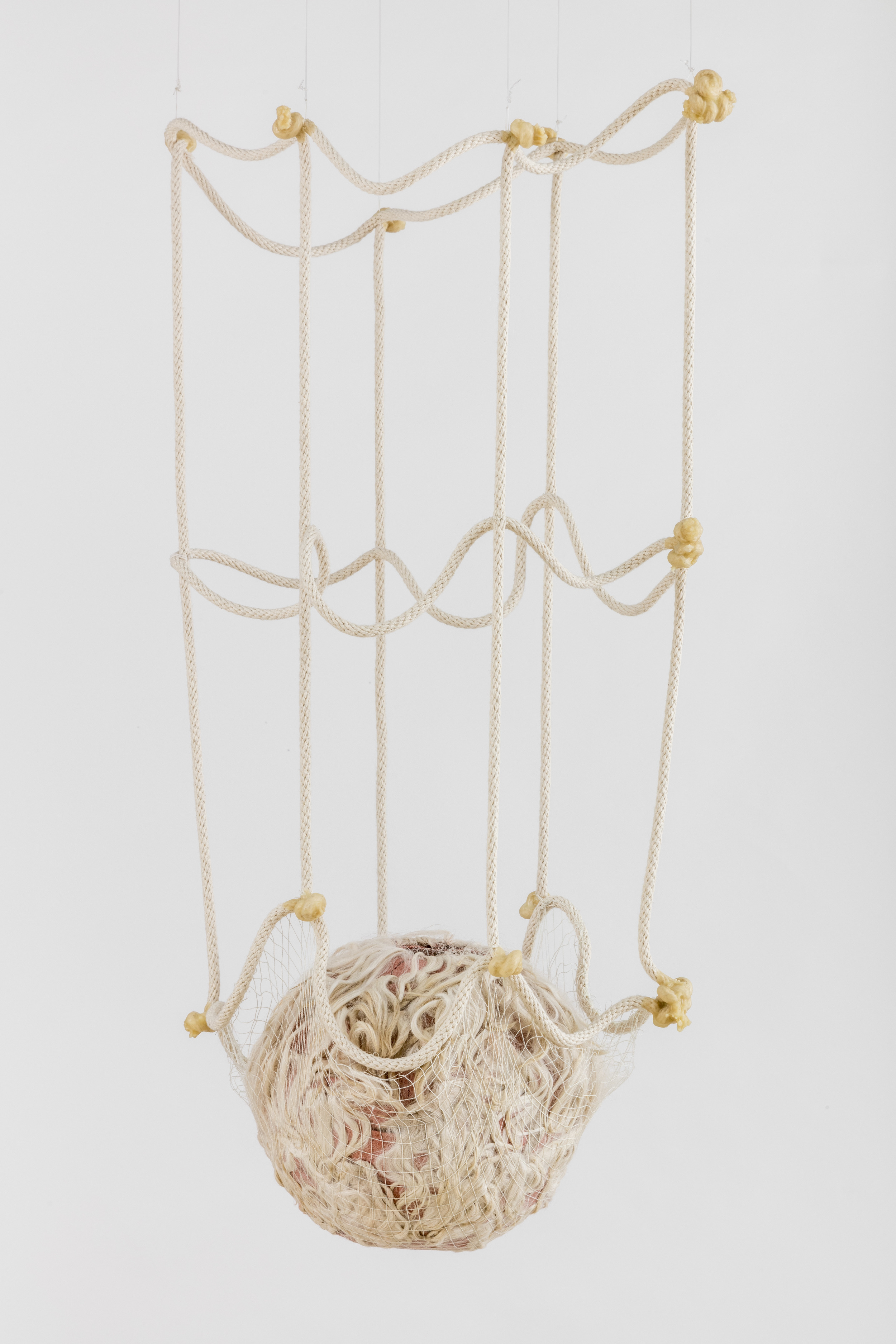 Tanya Aguiniga   Gynic Dispossession 6 , 2016  Cotton rope, cotton thread, canvas, self-drying clay,alpaca and beeswax  33 x 17 x 12 inches