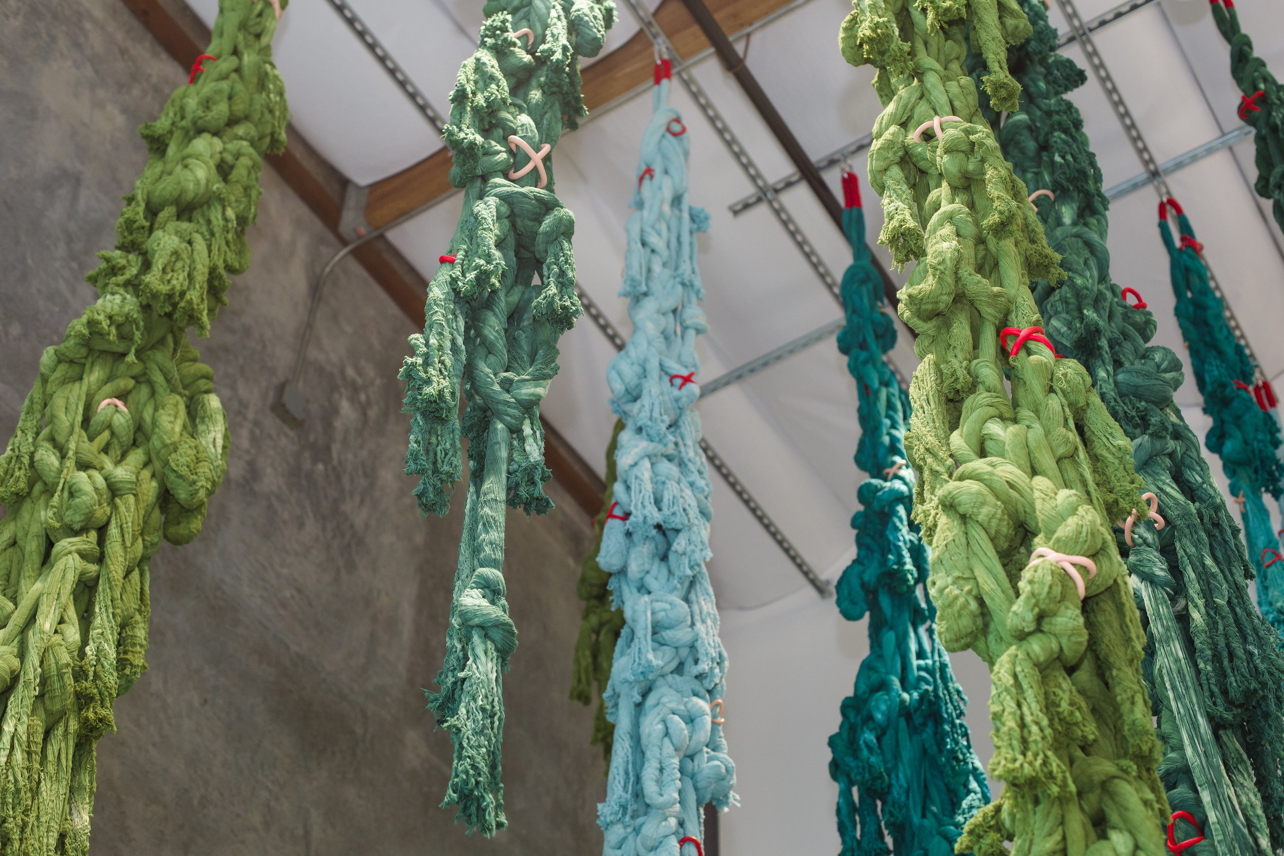 Manglar, 2017  Unraveled and hand-dyed cotton, hand-painted resin clay