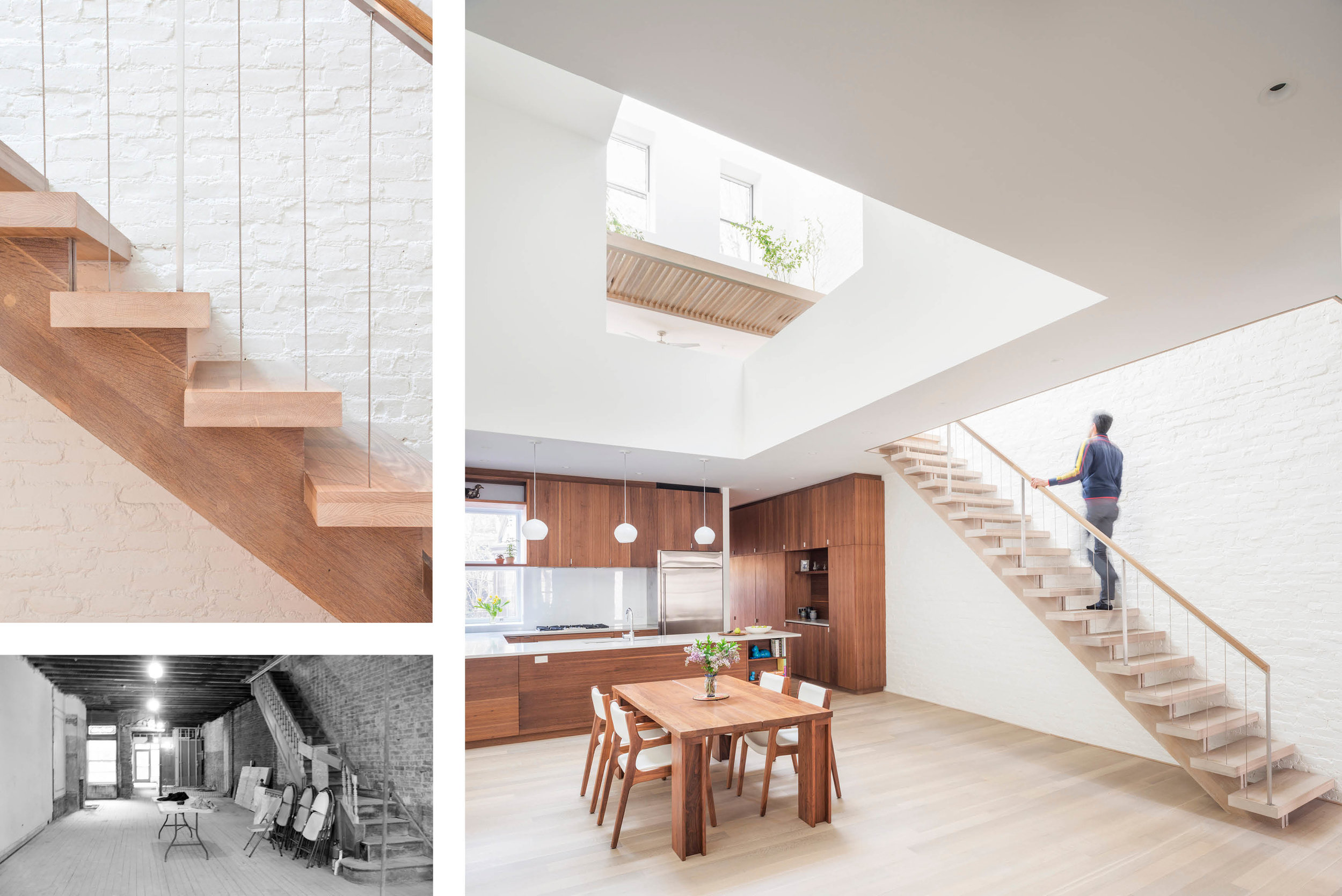 top left: Stair Detail bottom left: Existing 1st Floor right: Dining Room, Kitchen & Loft