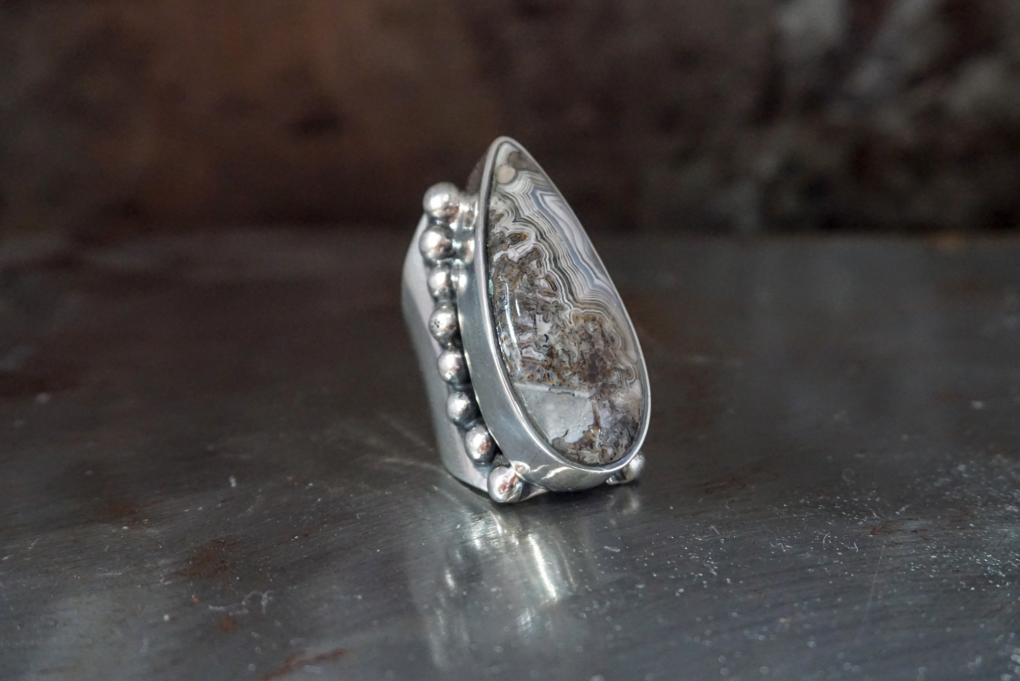 crazy lace agate ring