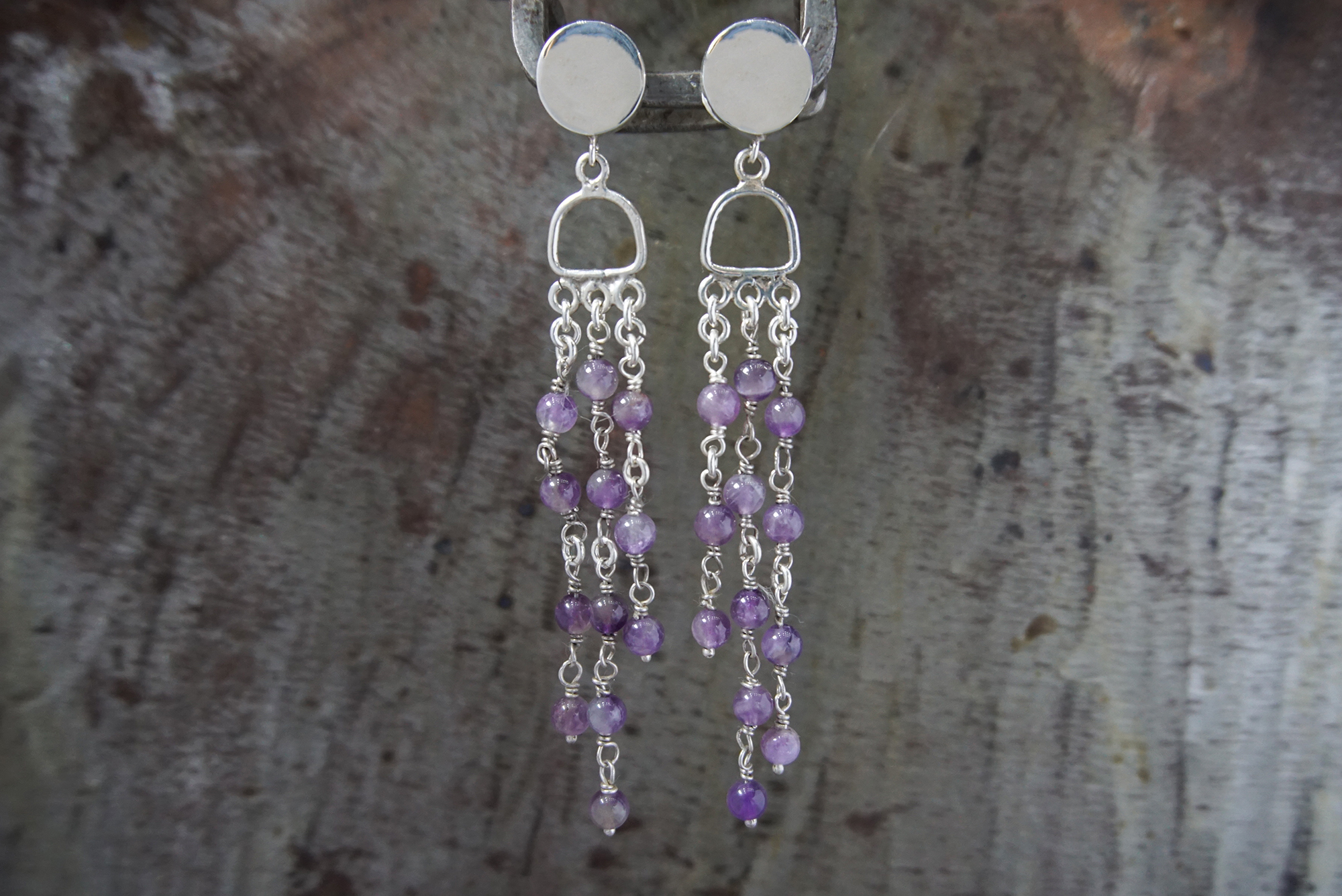 amethyst post earrings