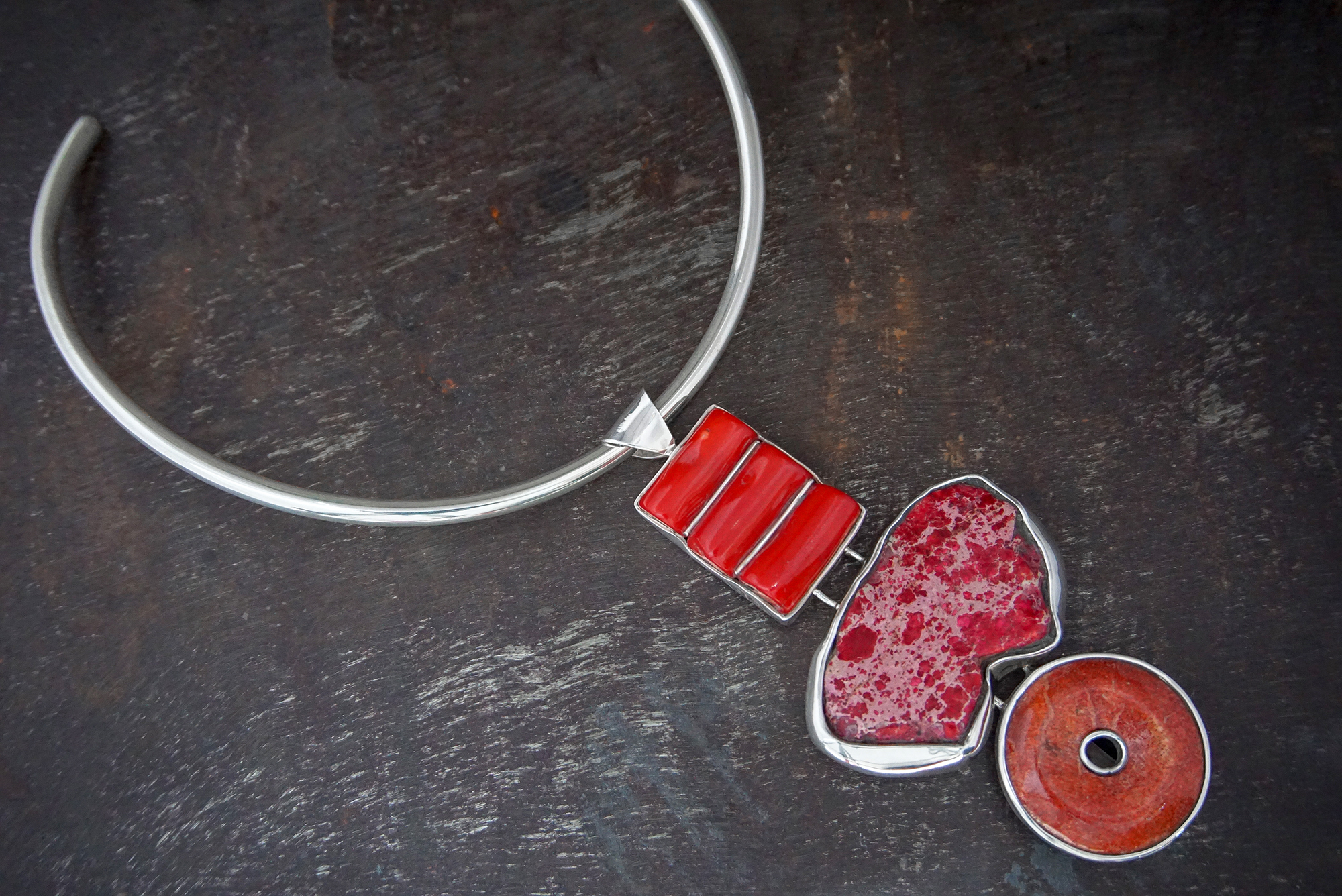 red coral pendant, red howlite & sponge coral enhancers