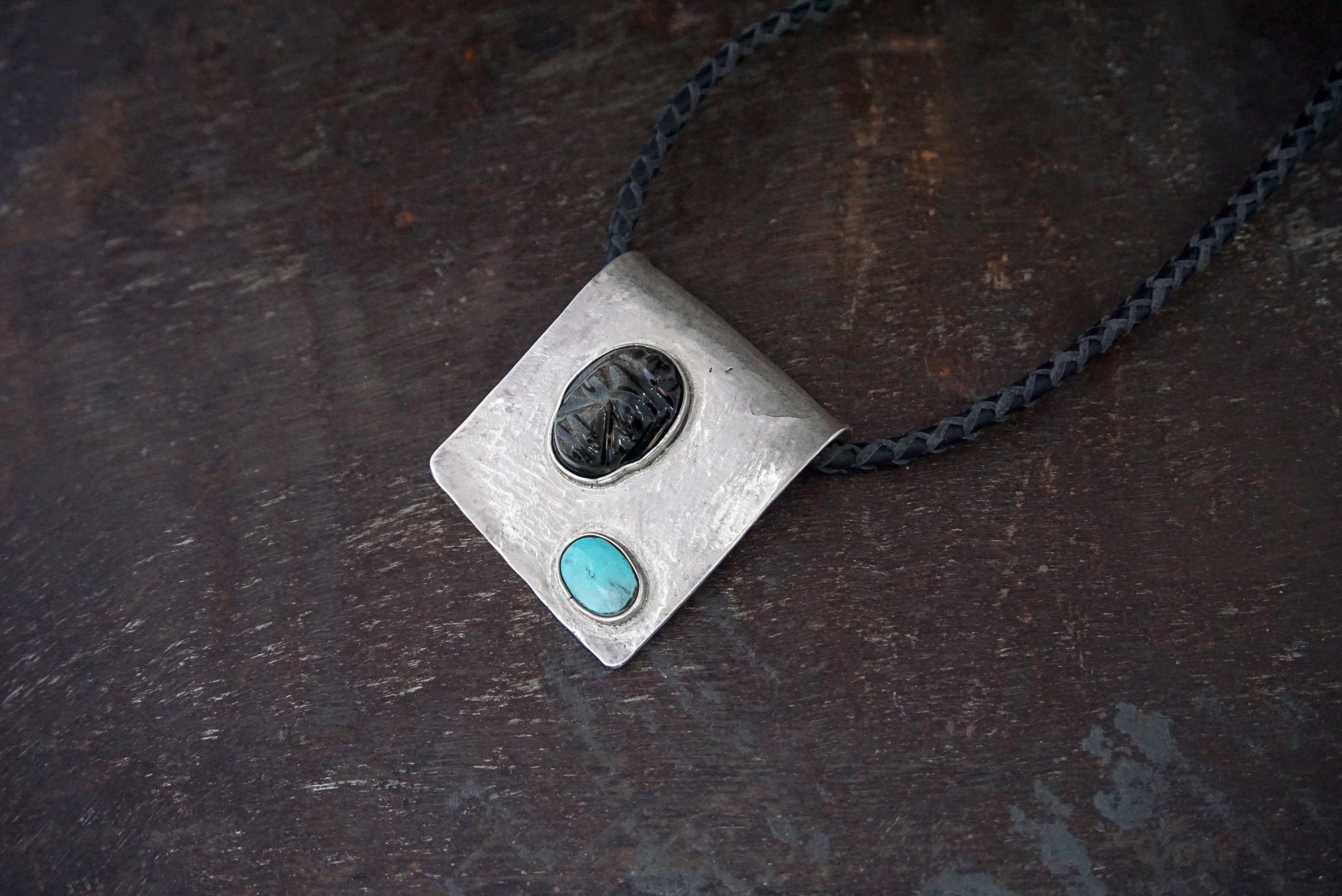 obsidian & turquoise pendant on leather