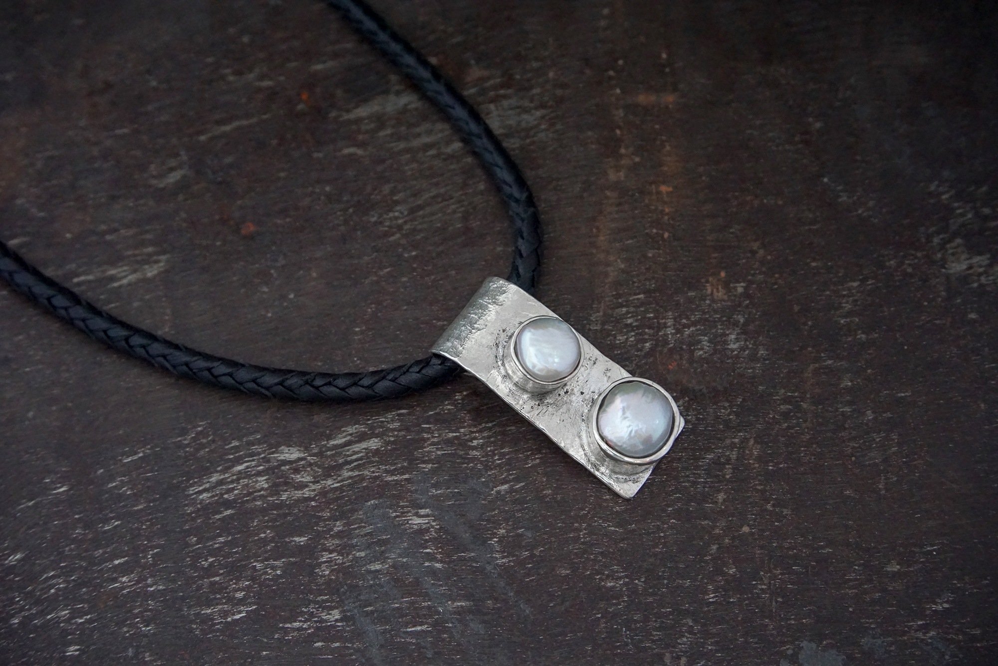 pearl pendant on leather