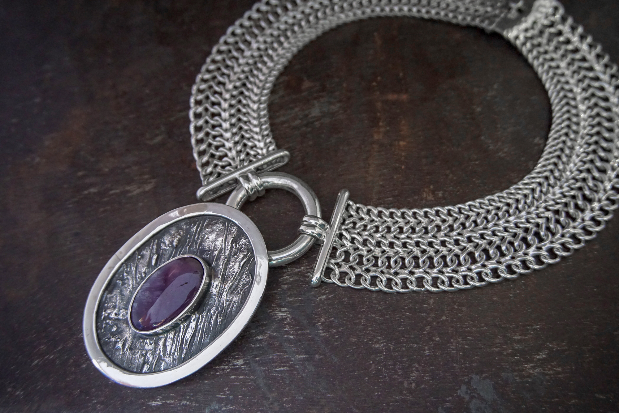 amethyst pendant & cartier style necklace