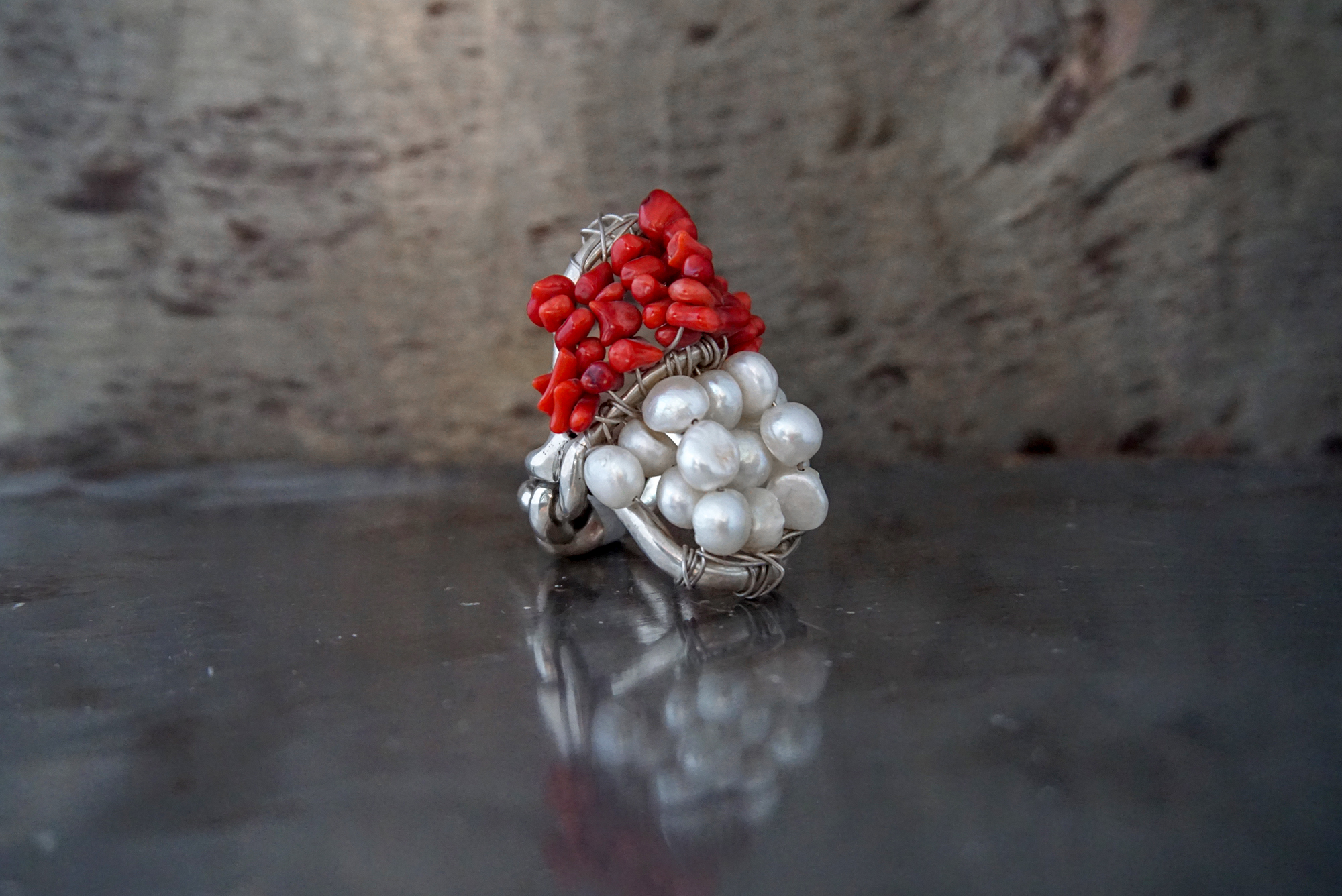 red coral & pearl rings