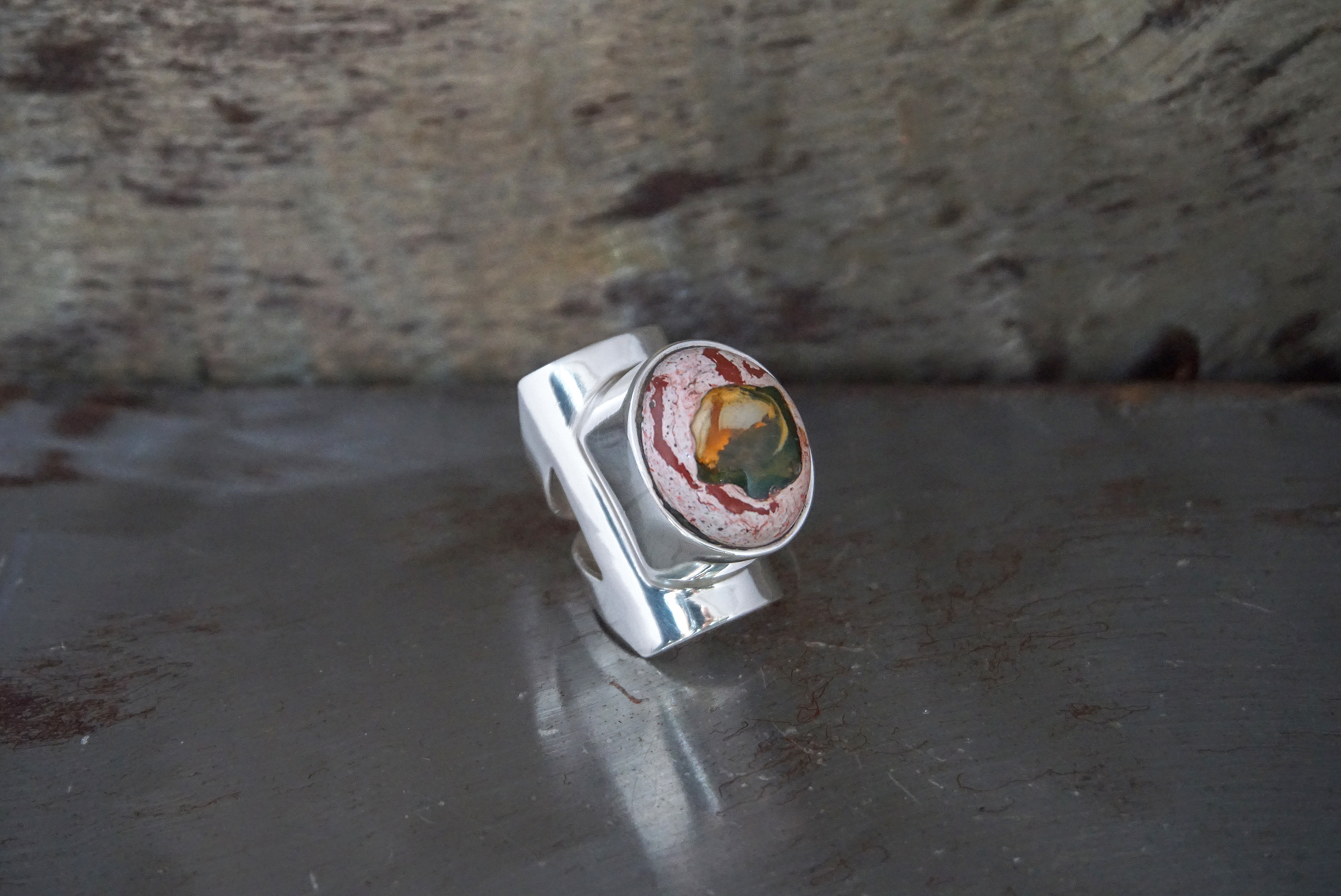 fire opal in cantera ring