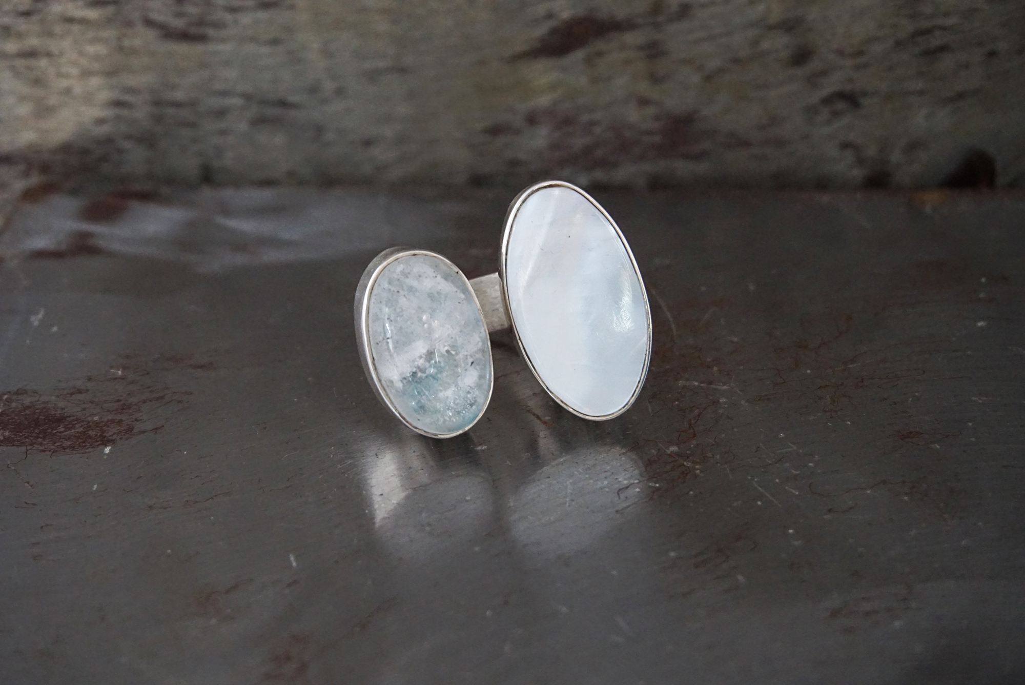 rainbow moonstone & mother of pearl ring