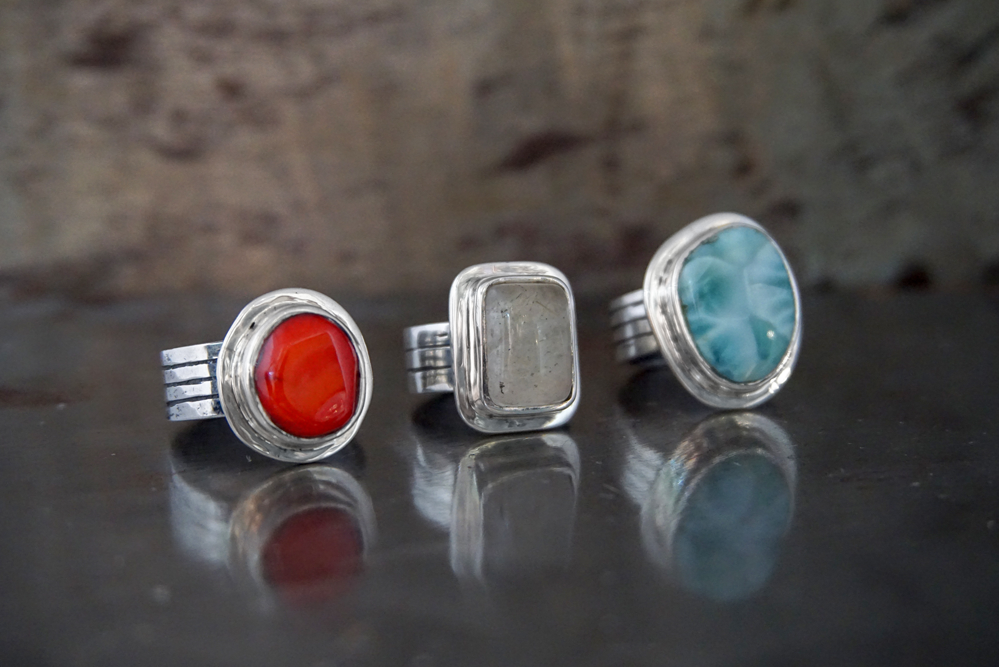 red coral, rutilated quartz & larimar rings