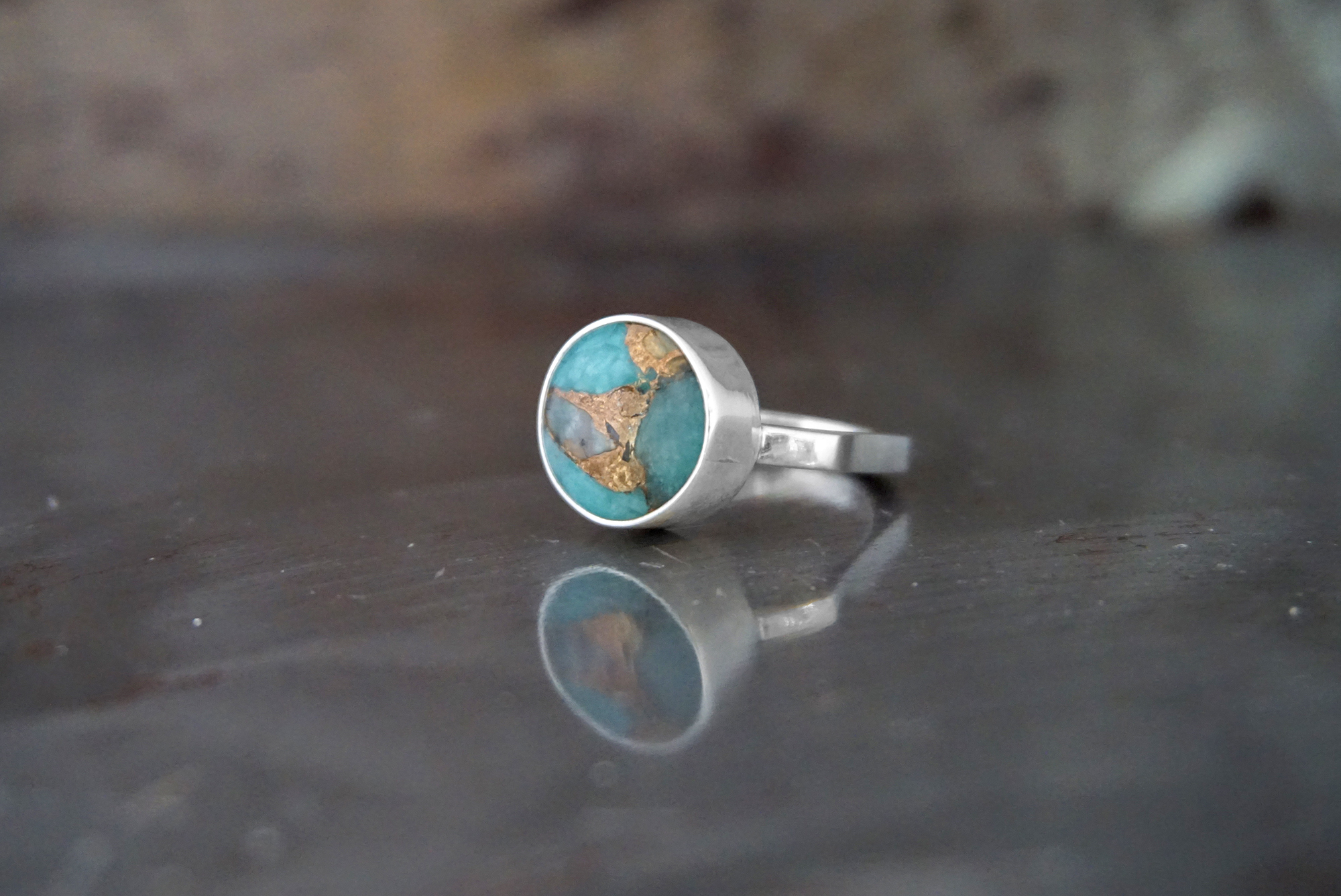 amazonite with bronze ring