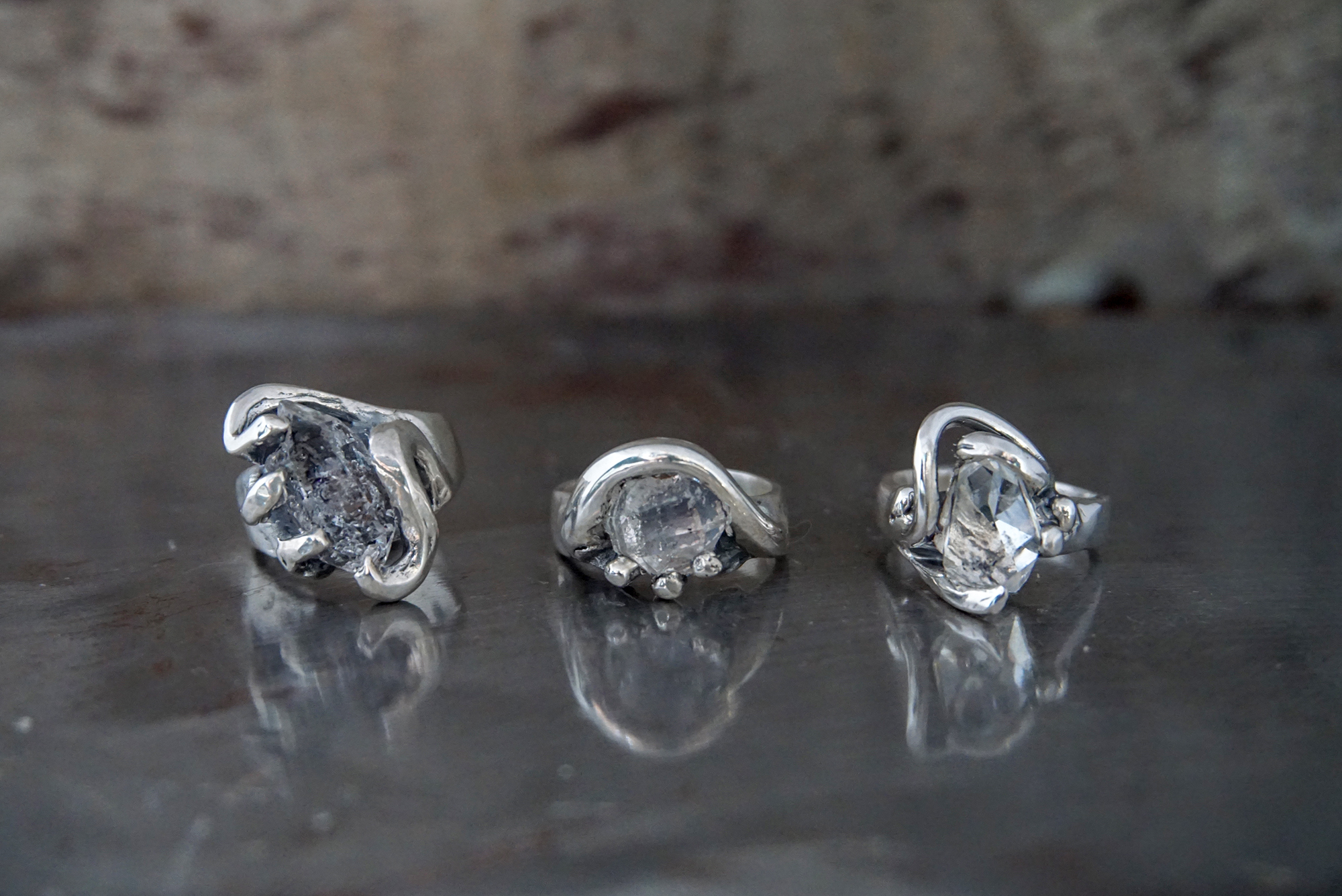 herkimer diamond rings