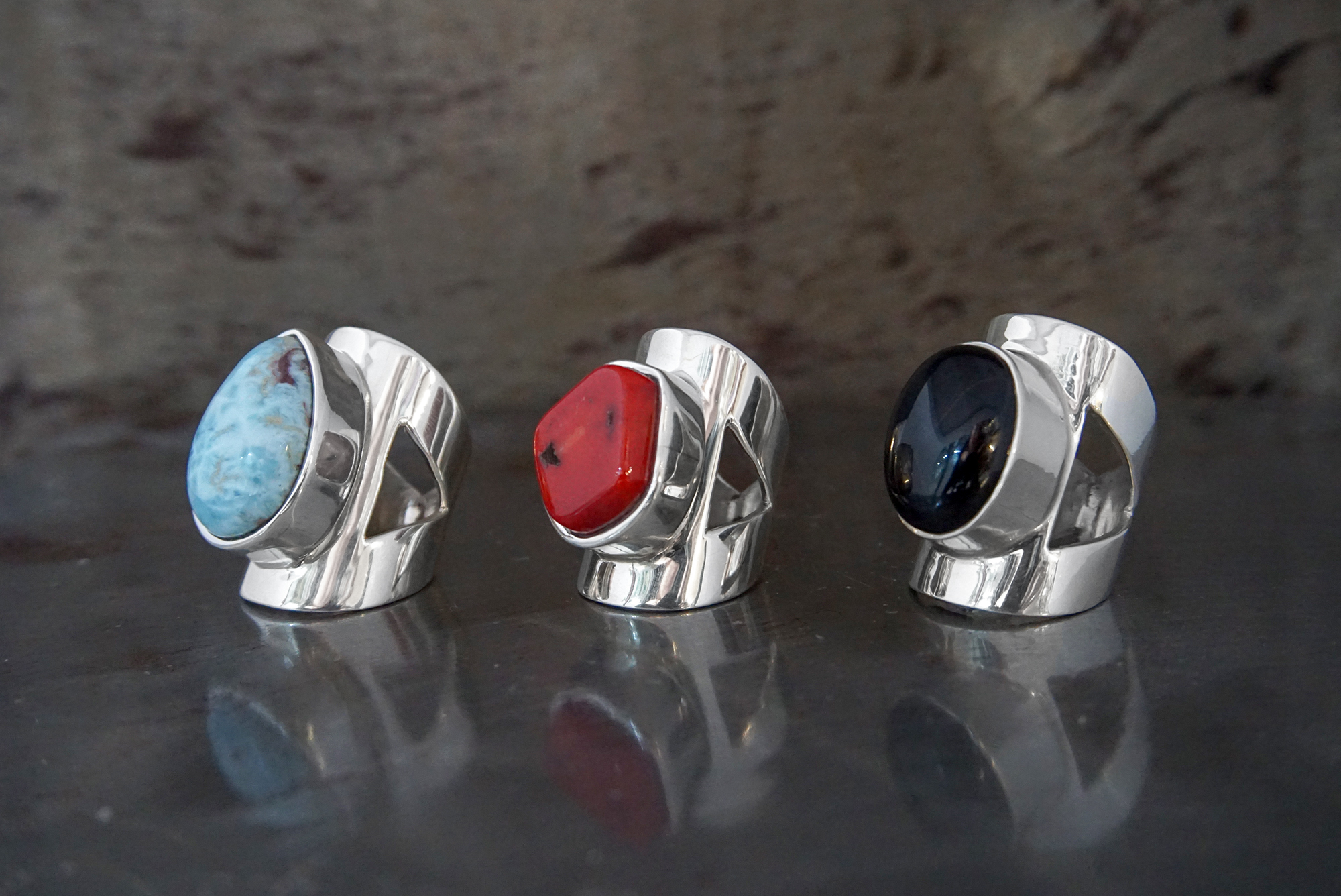 larimar, red coral & onyx rings