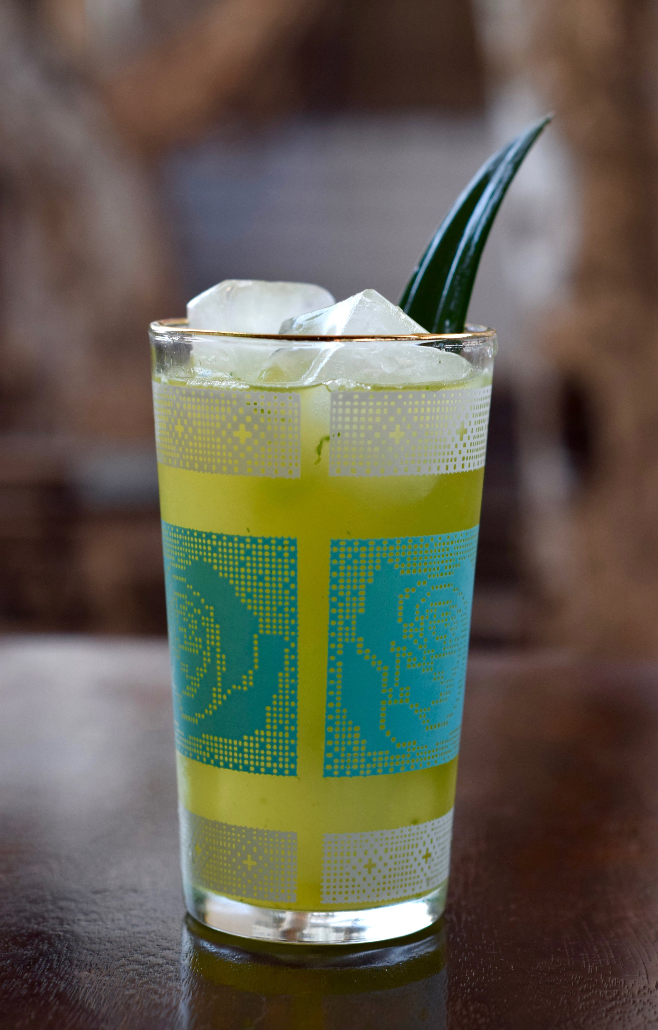 AZTEC GARDEN - 1 oz nostrum pineapple turmeric ginger shrub3/4 oz fresh lime juice5-6 leaves fresh epazote (or mint)6 oz soda waterdirections: shake first three ingredients with ice.top with soda and strain over fresh ice.