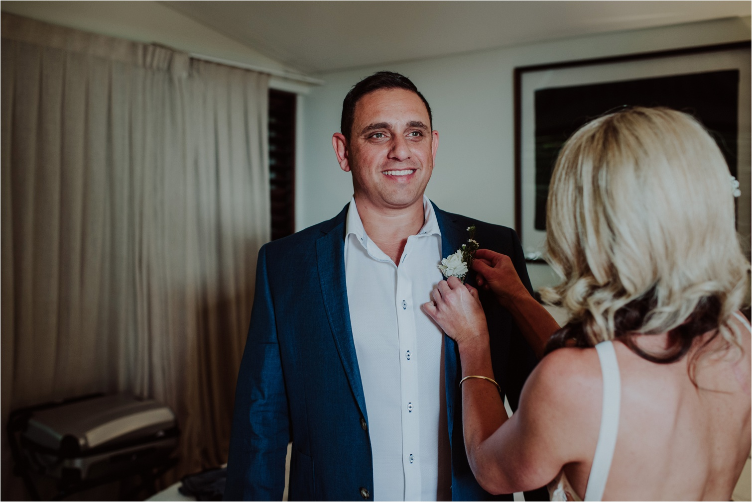 The French Petal groom boutonniere