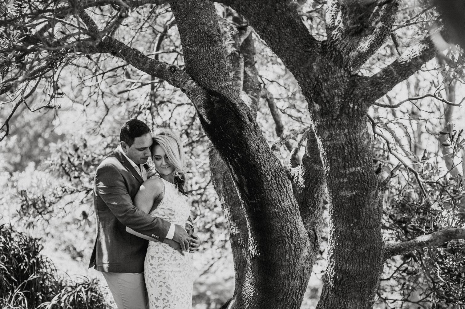 Byron Bay black & white bridal portrait