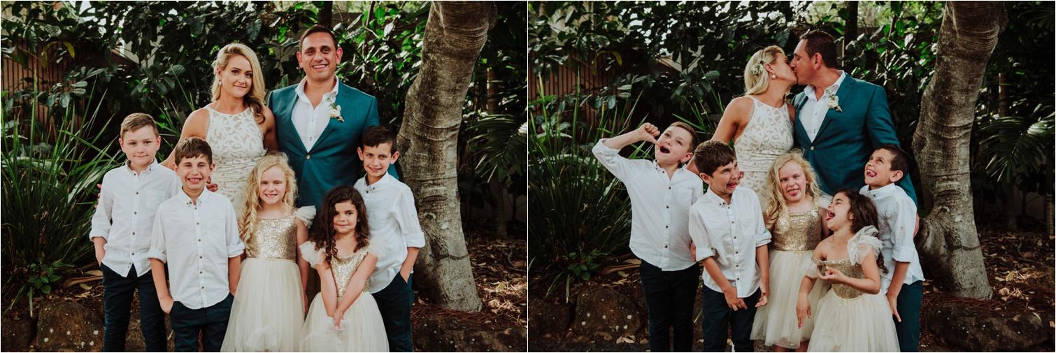 Blended family wedding family photo