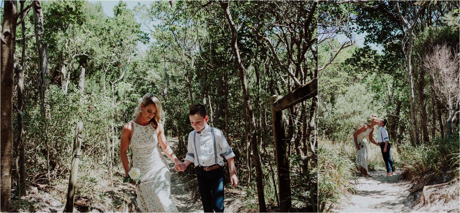 Broken Head beach wedding son escort bride