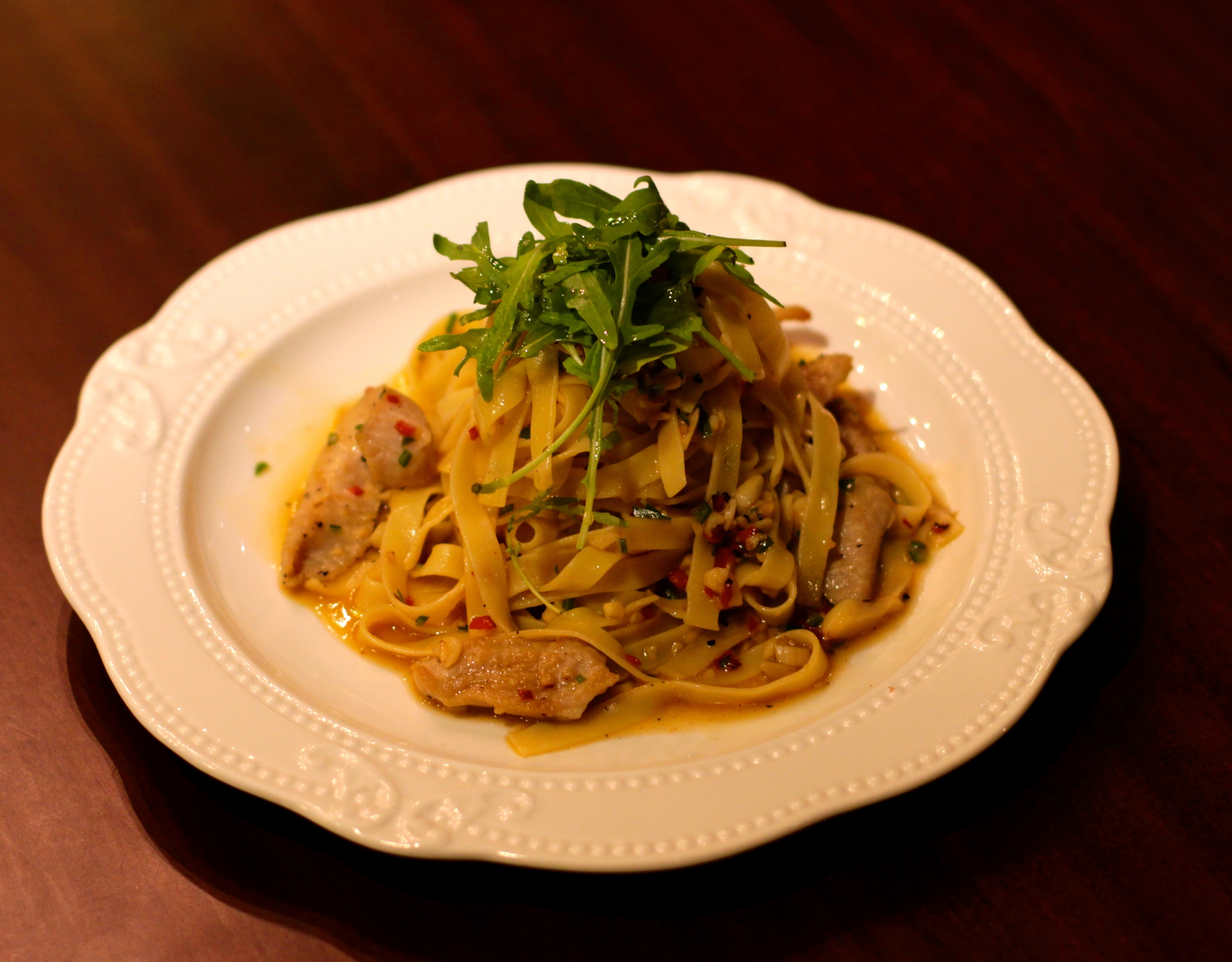 大蒜辣椒豬頸肉義大利麵 Chilli and Garlic Fettuccine with Matuskaka Pork