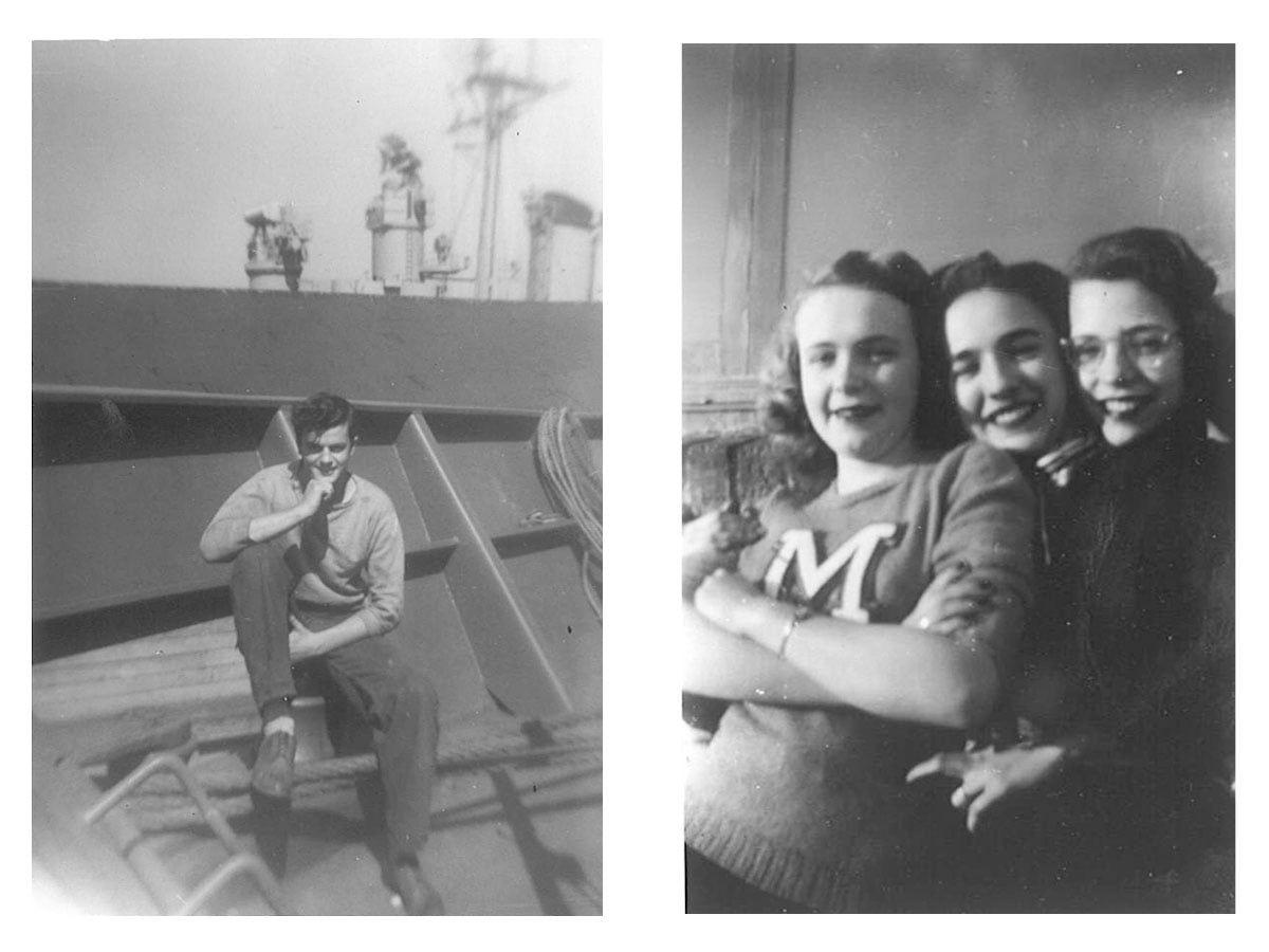 On left, Vince on board an oil tanker off the Lucian Islands. On right, Lois in front with her high school friends.