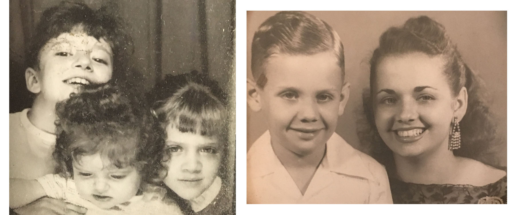On left, the couple's three precious daughters in the late 60s. On right, Ida and her loving son.