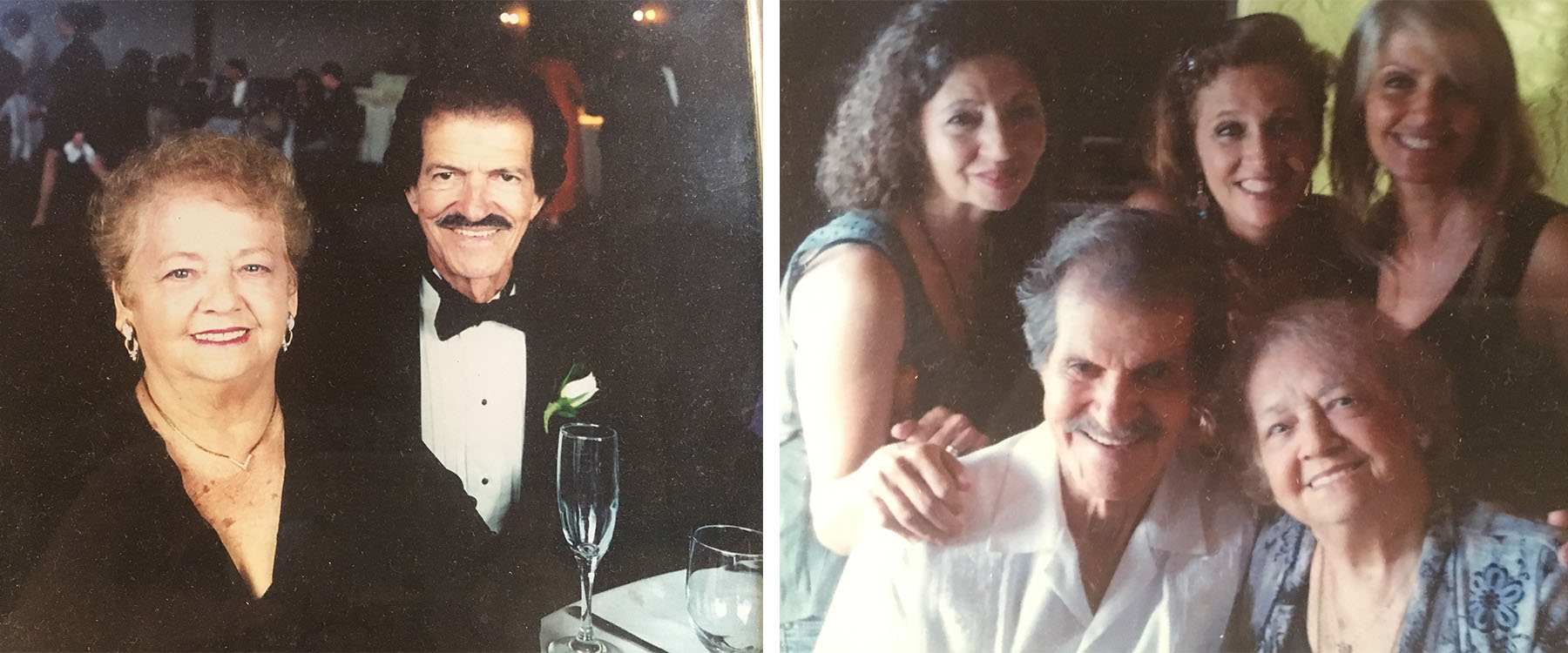 On left, the couple in the 90s. On right, the Rodriguez couple with their sweet daughters.