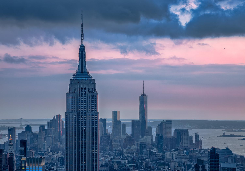 Dusk falls over New York City