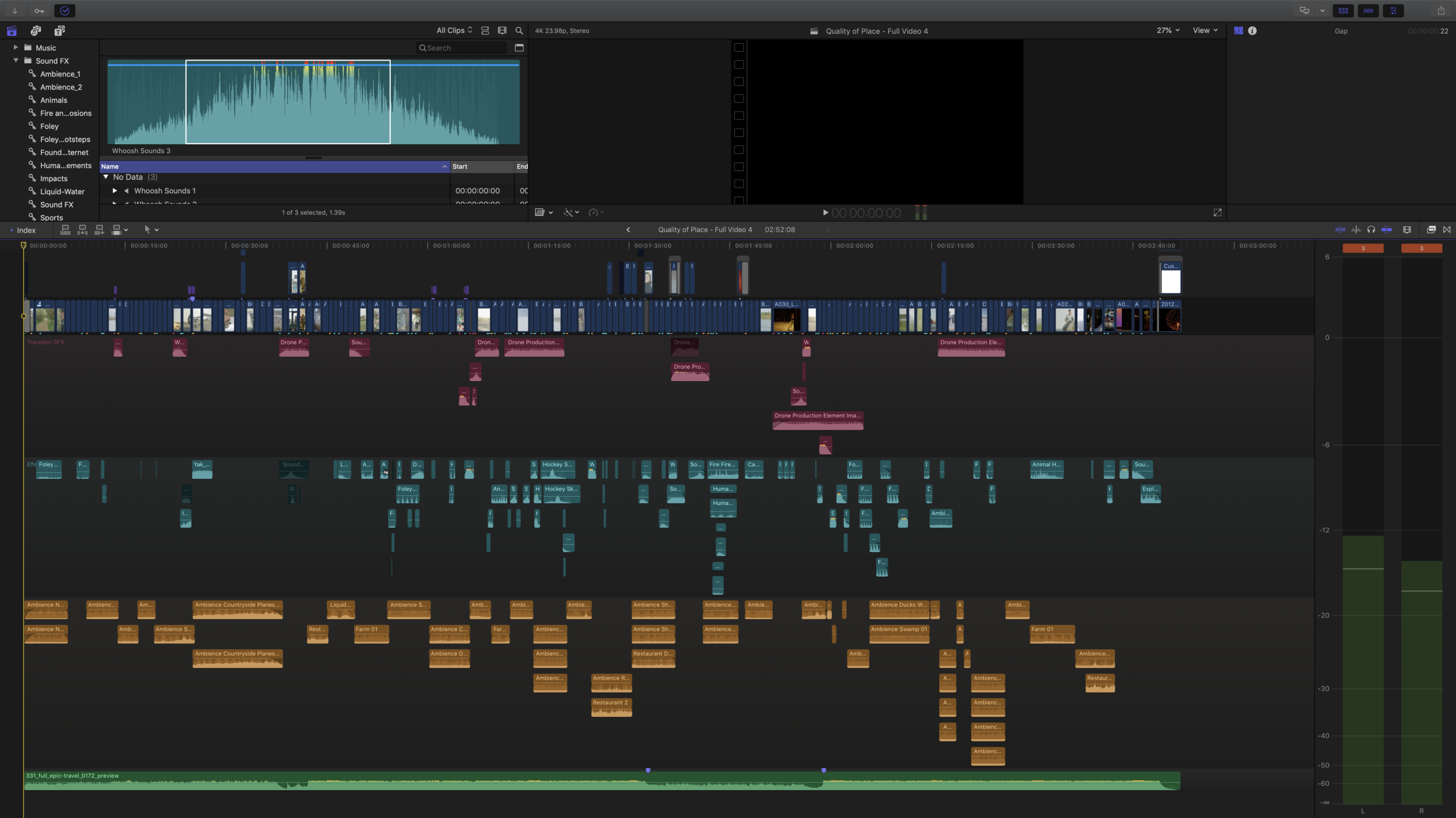 A screen capture of the Final Cut Pro X timeline of the project, including sound design.