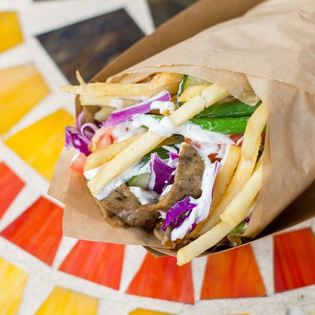 Food is more fun when you stick french fries inside of it. Savor the french fry flavor wrapped up in a gyro sandwich from @kabobtrolley or enjoy lunch with @chomp_station @chomp_station @firetrailpizza @kokiorepublic @nuchaempanadas @gyrosonwheels7 @streetmeettruck or @chefsfoodtruck #SoMaStrEatFoodPark #SoMa
