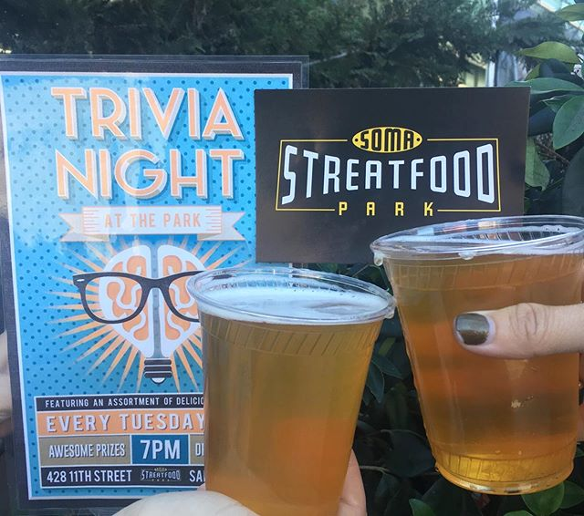 Yelling trivia answers at the tv while sinking deeper and deeper into your couch can be fun, but tonight is not the night for that. Put on your thinking cap and show off your knowledge over a pitcher of beer and dinner from @saborcatrcho @firetrailpizza @thesarapshop @kokiorepublic @nuchaempanadas @gyrosonwheels7 @streetmeettruck or @chefsfoodtruck #SoMaStrEatFoodPark #SoMa