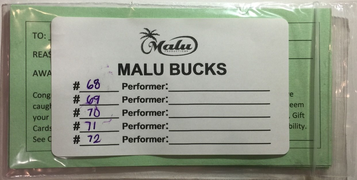 Back of Malu Bucks Packet