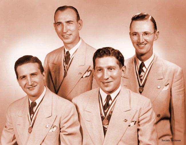 "Left to right: Harry Conte, John ""Jiggs"" Ward, Tommy Palamone, Bill Conaway"