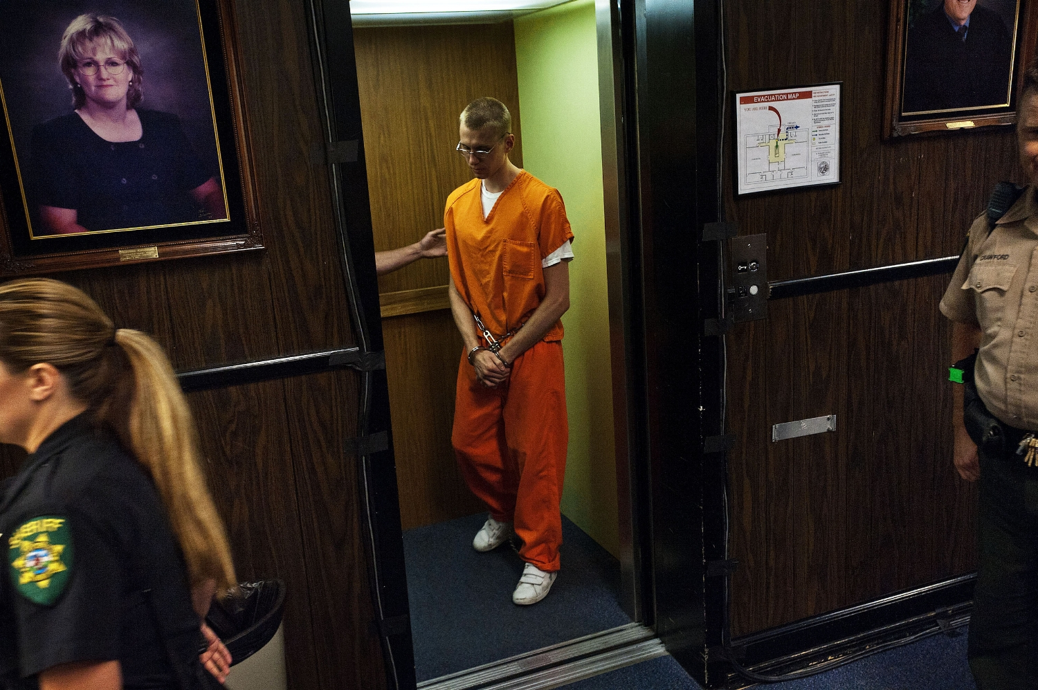 Steven Colver steps out of the elevator to be sentenced at the El Dorado County Superior court in Placerville on Friday, August 12, 2011. Colver and his girlfriend Tylar Witt were convicted of murdering Tylar's mother, Joanne Witt