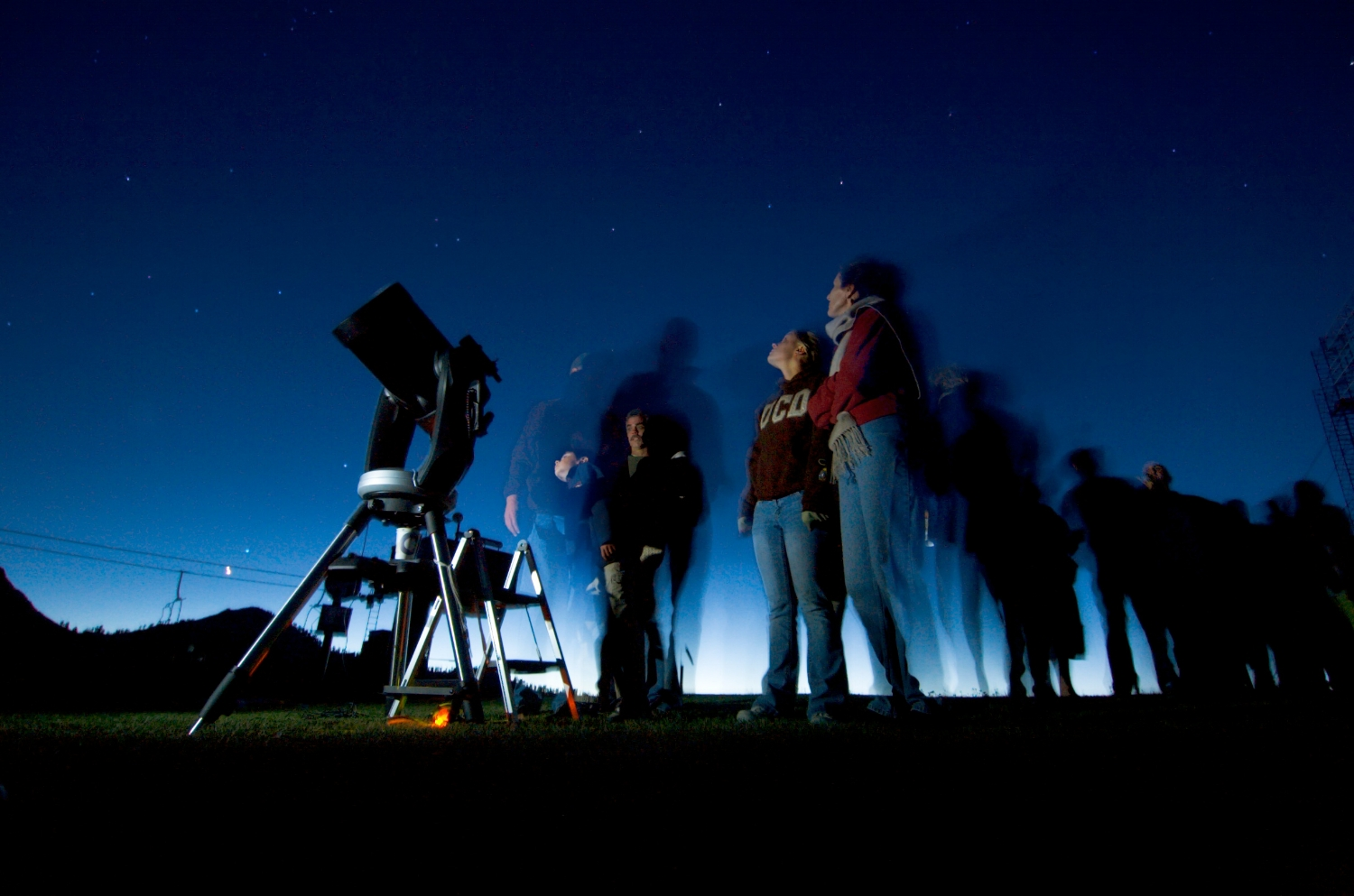 Visitors line up to look through a telescope at Squaw Valley Resort on Friday July 13, 2007.