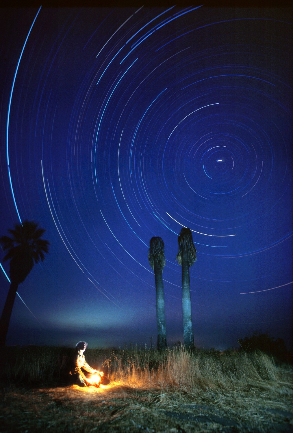 Due the Earth's rotation during a four hour exposure, the stars appear to spin around Polaris (the north star) in Lincoln, CA.