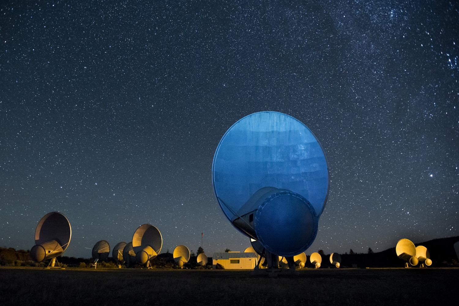 SETI researchers monitor the heavens with a field of radio telescopes at the Allen Telescope Array at the Hat Creek Radio Observatory in Hat Creek northern California on Thursday, September 1, 2016.