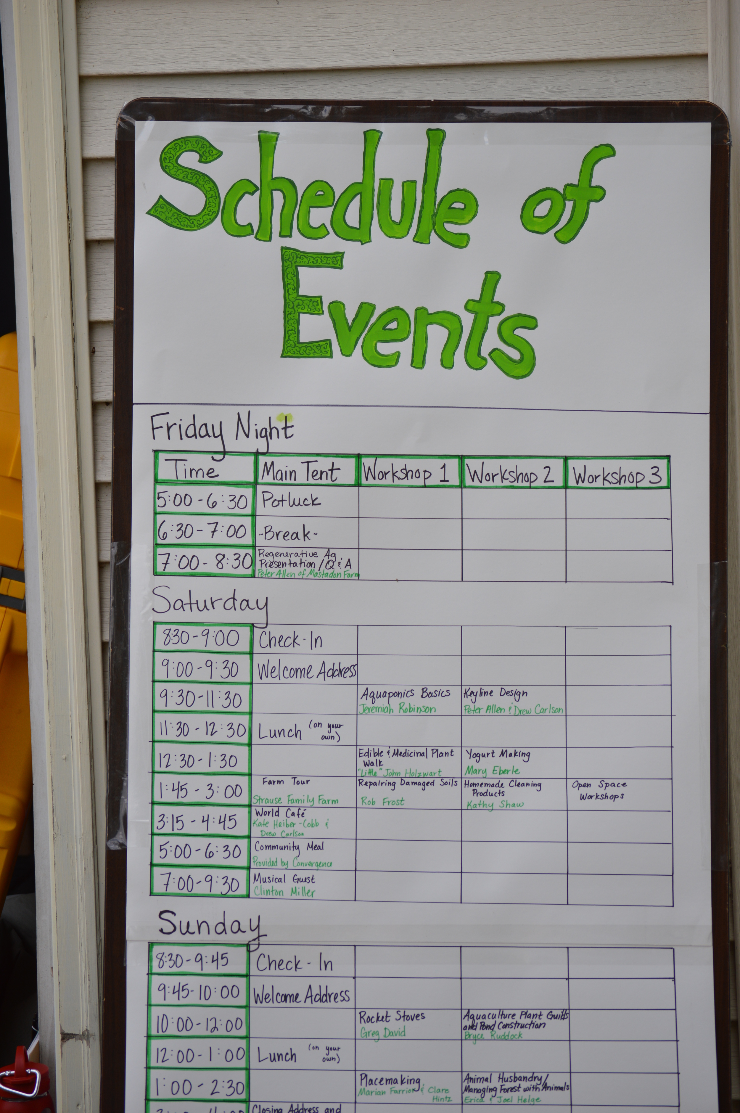 Event Schedule from the 2014 Wisconsin Permaculture Convergence