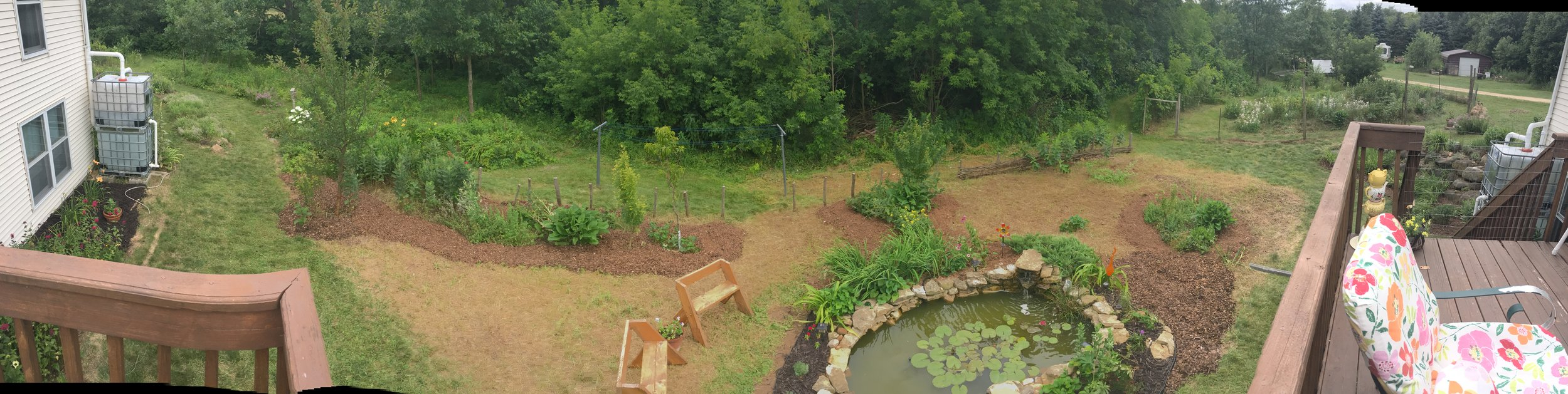 Carlson Homestead back yard with pond built during a workshop (led by Bryce Ruddock)at the 2014 WPC .