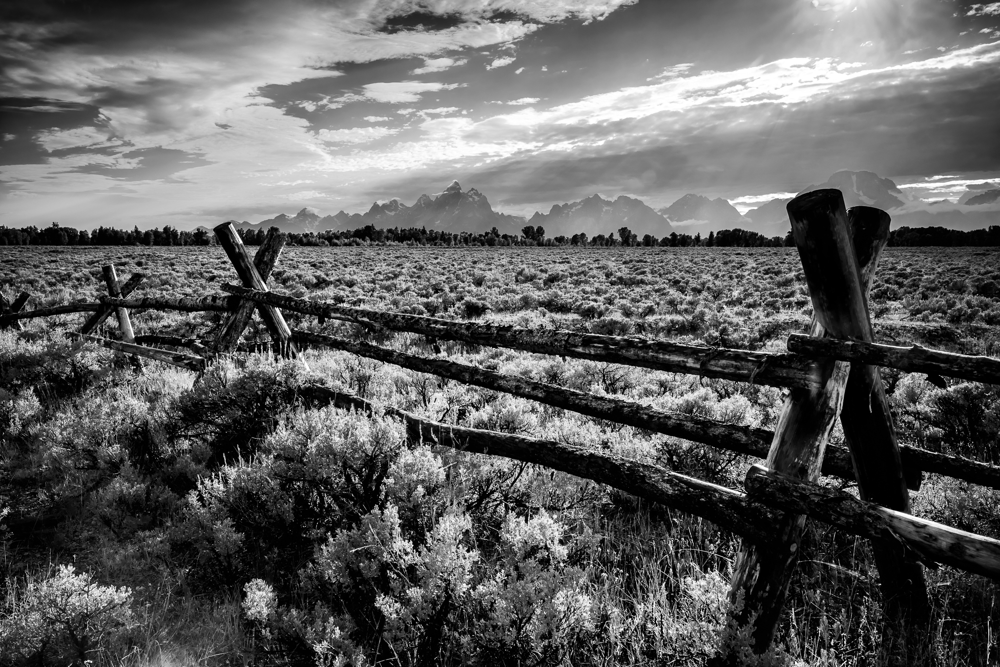 A quintessential western style fence in Grand Teton National Park, WY.