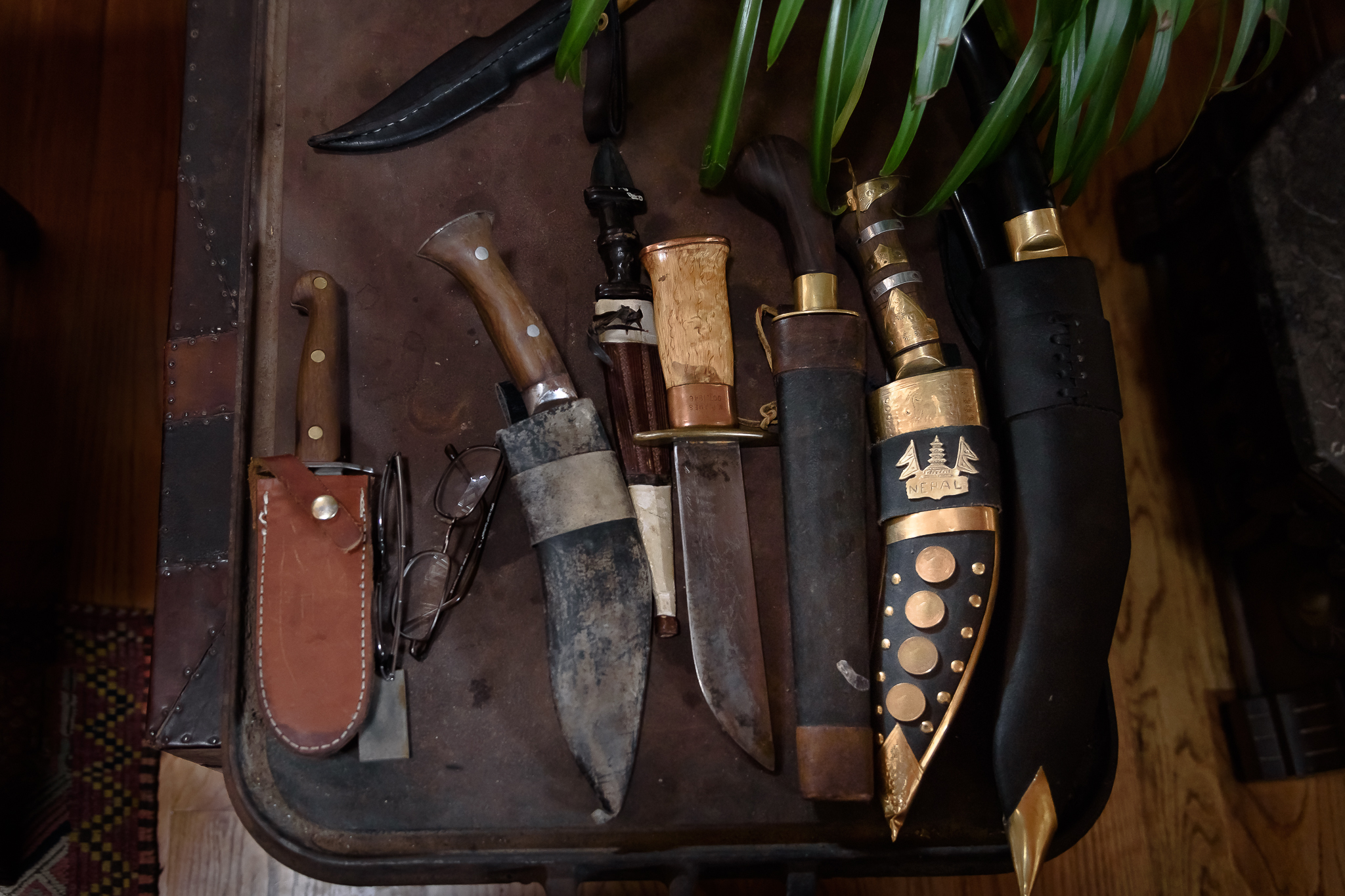 A peek at a few of the many knives in John's collection.