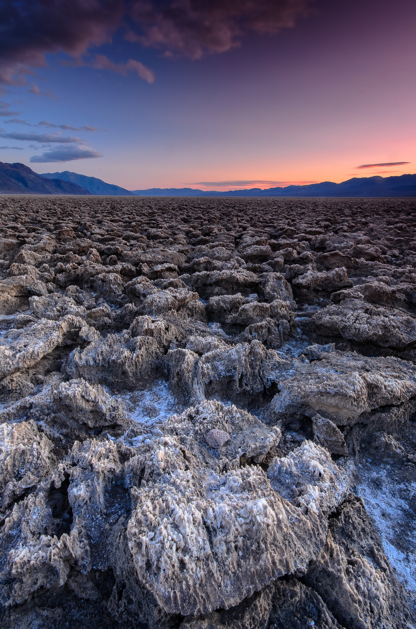Jagged salt crystals warn xplorers to watch their step.  Devil's Golf Course, Death Valley CA