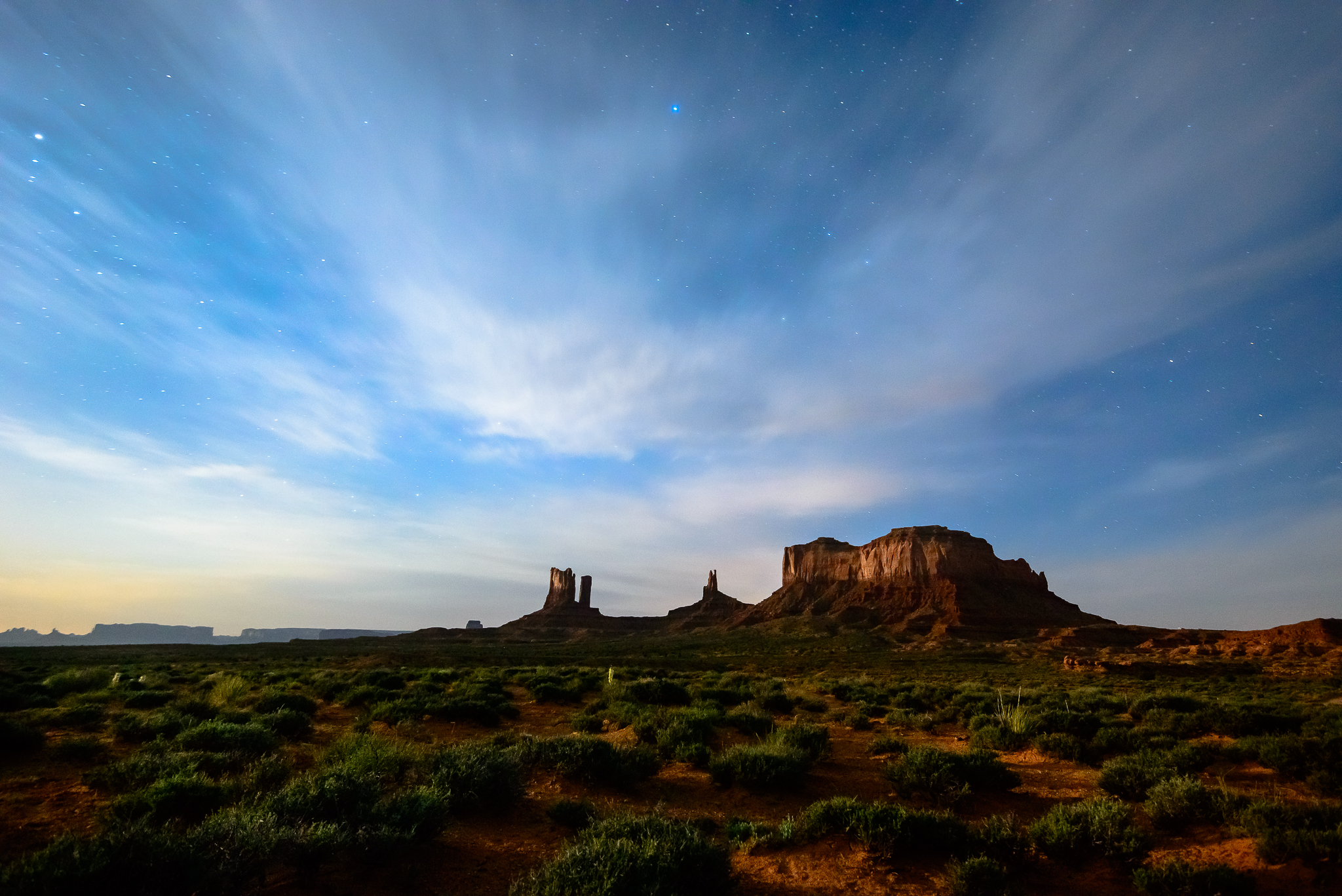 Just a smidge of moonlight to do it right. Monument Valley, UT.