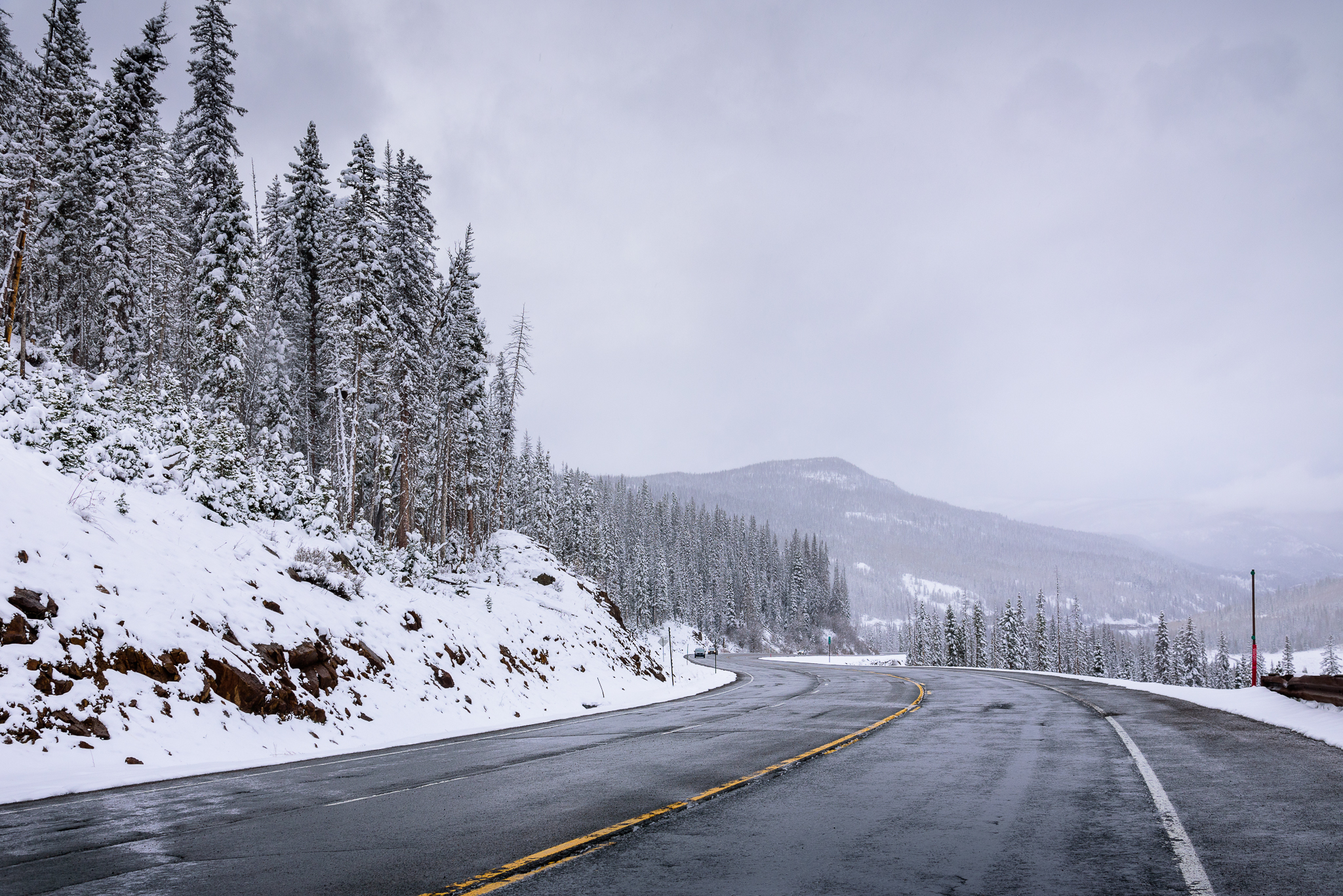 The down slope was wayyyy less sketchy, thankfully. Wolf Creek Pass, CO.