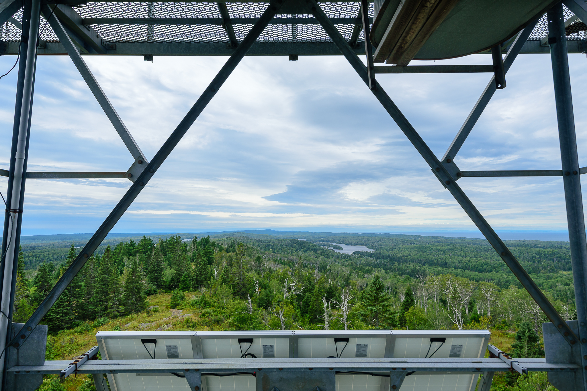 Full 360 island views are revealed from the upper deck of the Mt. Ojibway observation tower. Isle Royale, NP.